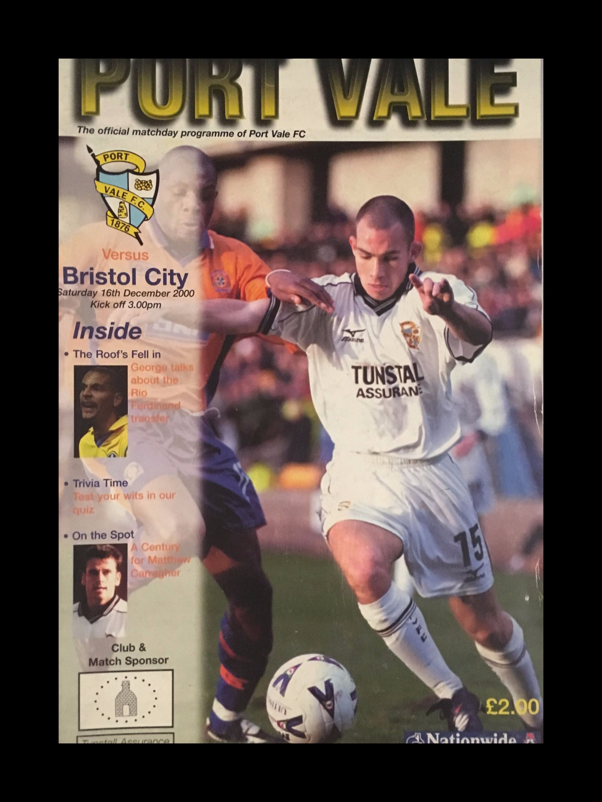 Port Vale v Bristol City 16-12-2000 Programme
