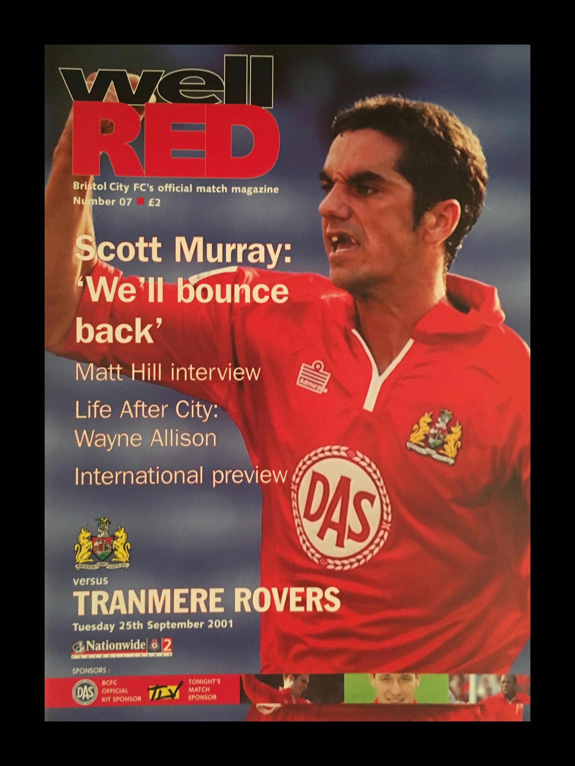 Bristol City v Tranmere Rovers 25-09-2001 Programme