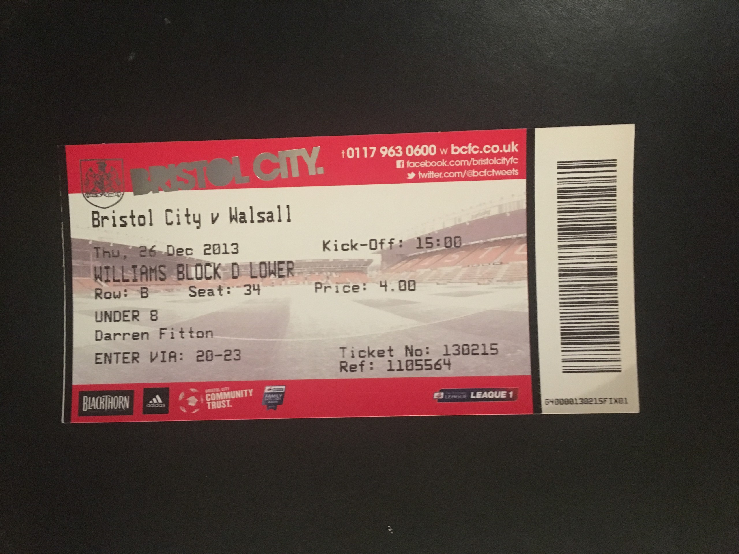 Bristol City v Walsall 26-12-2013 Ticket