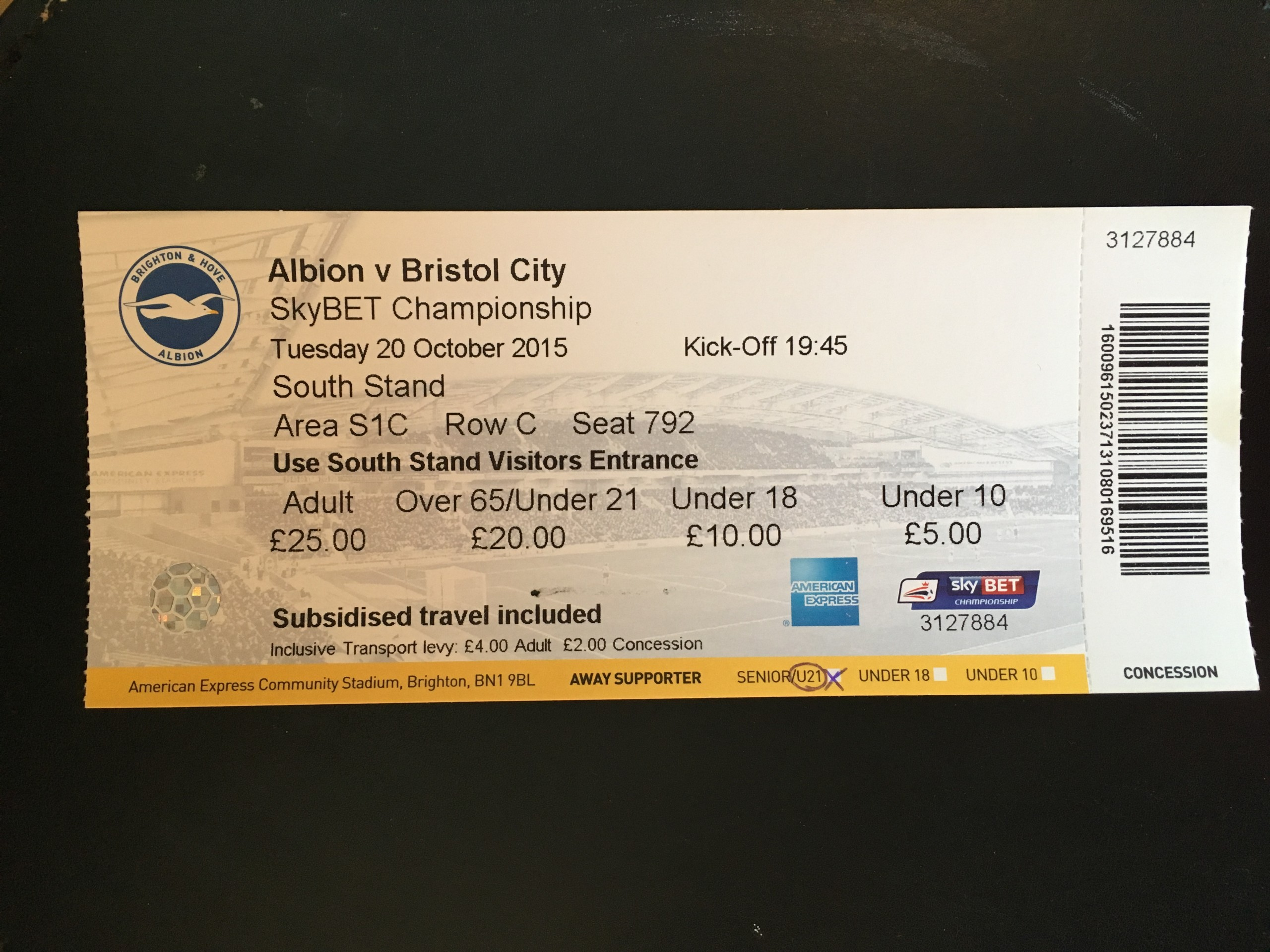 Brighton & Hove Albion v Bristol City 20-10-2015 Ticket