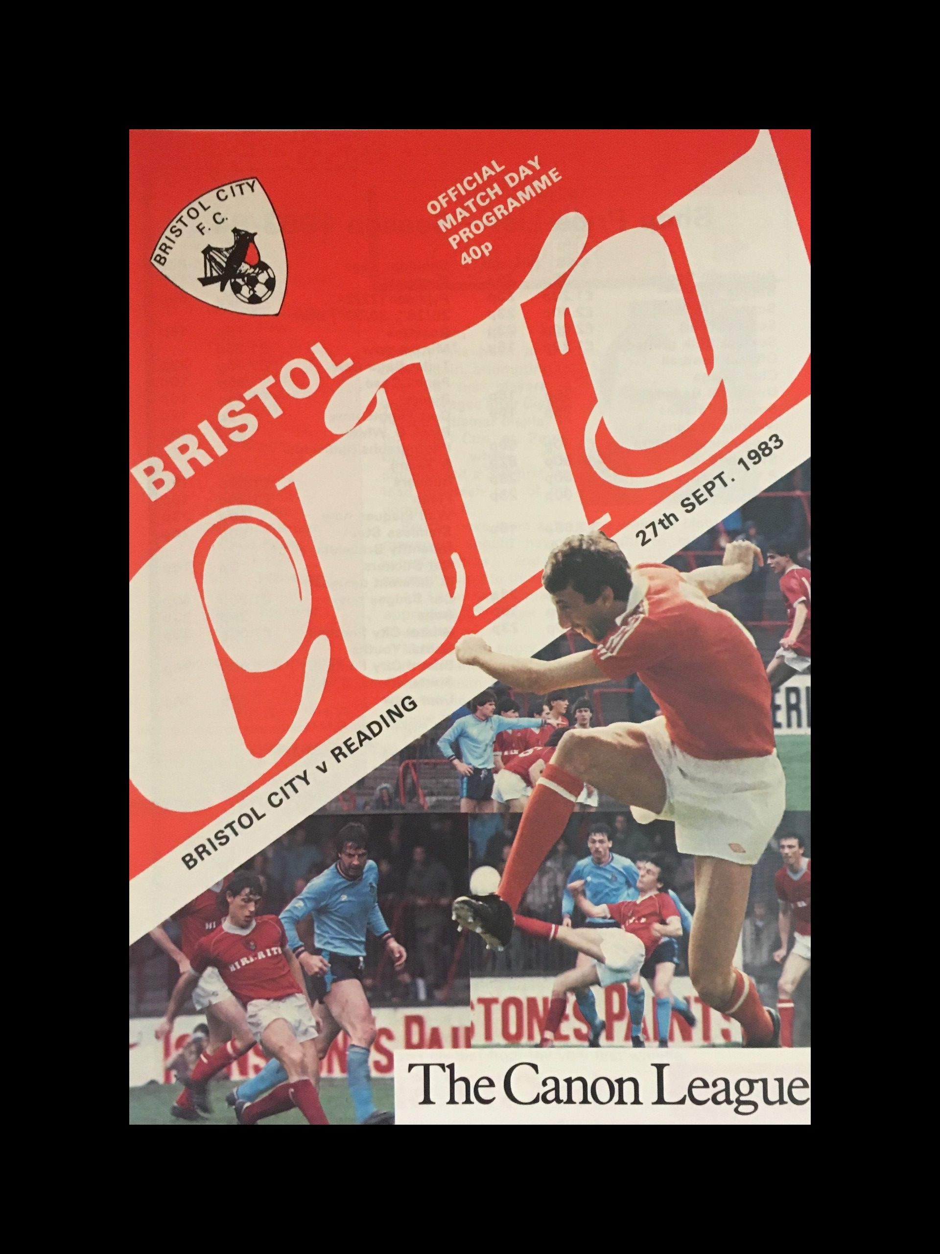 Bristol City v Reading 27-09-83 Programme