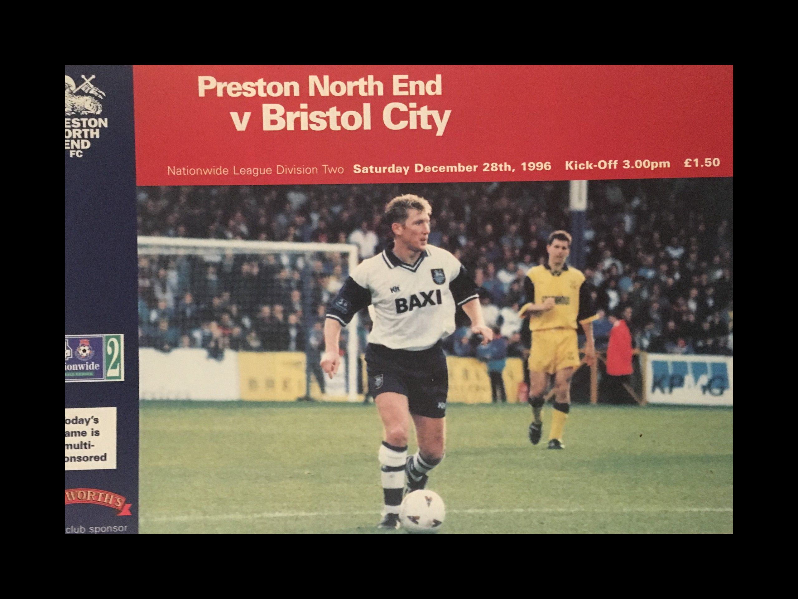 Preston North End v Bristol City 28-12-1996 Programme