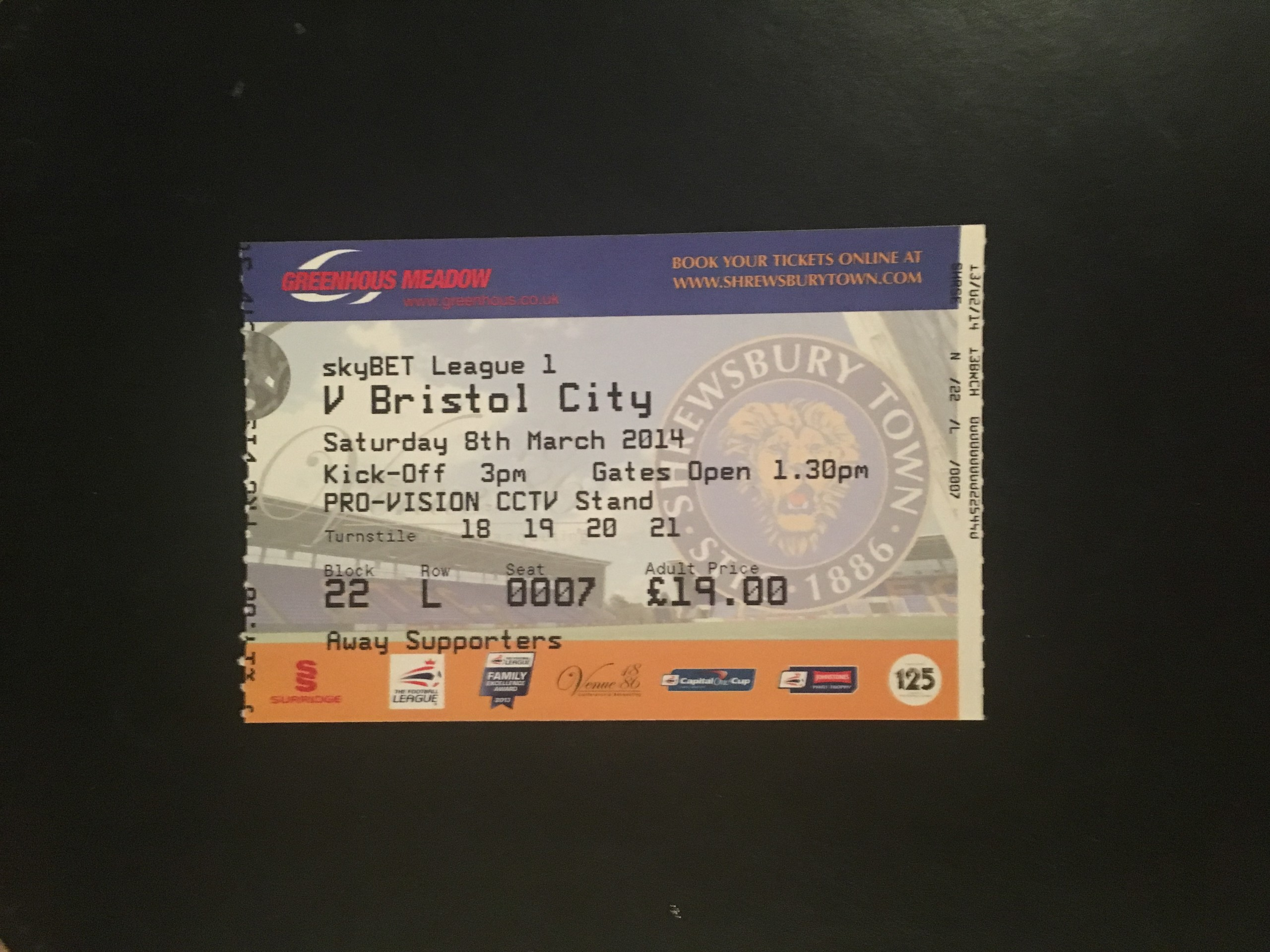 Shrewsbury Town v Bristol City 08-03-2104 Ticket