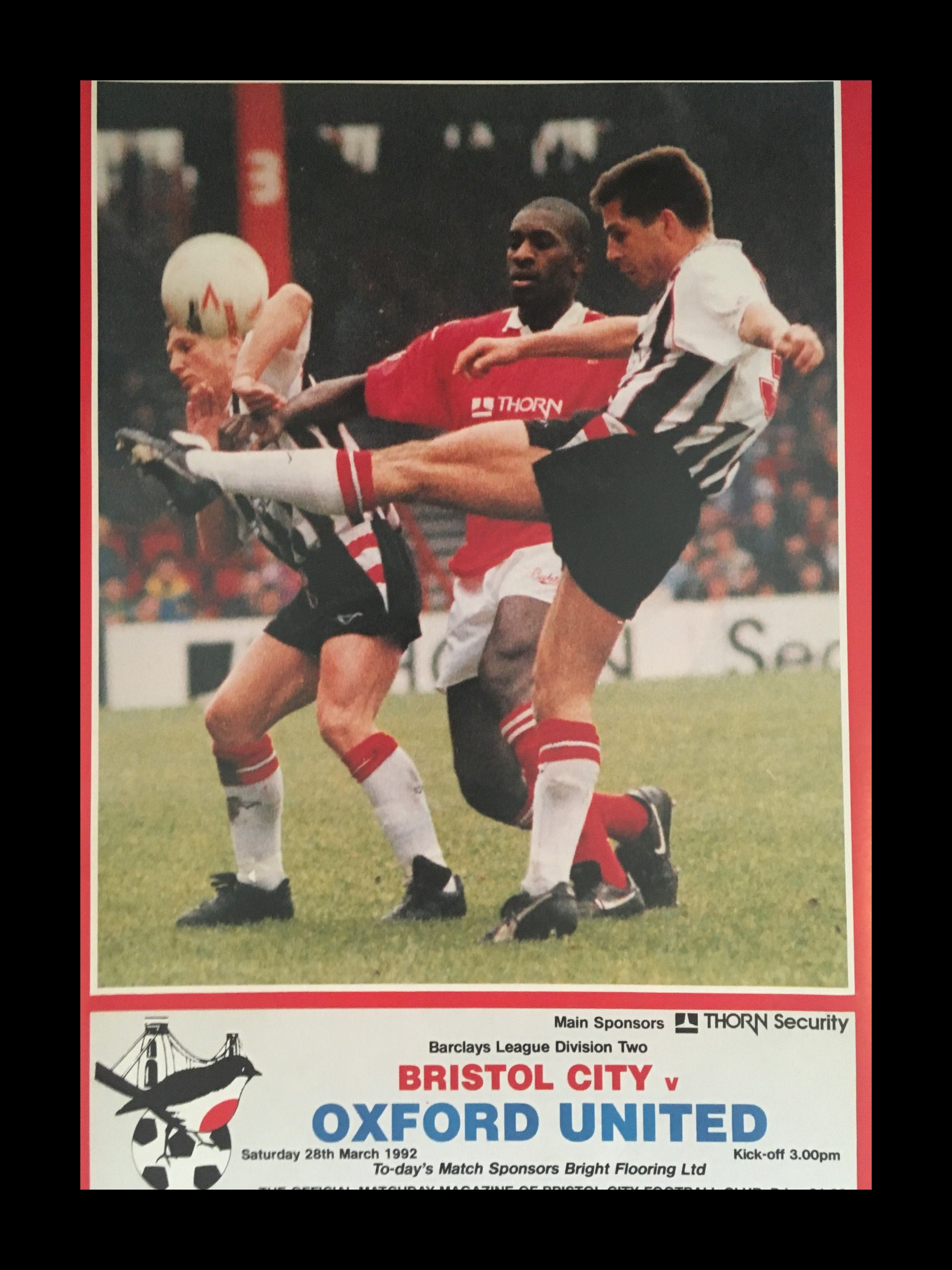 Bristol City v Oxford United 28-03-1992 Programme