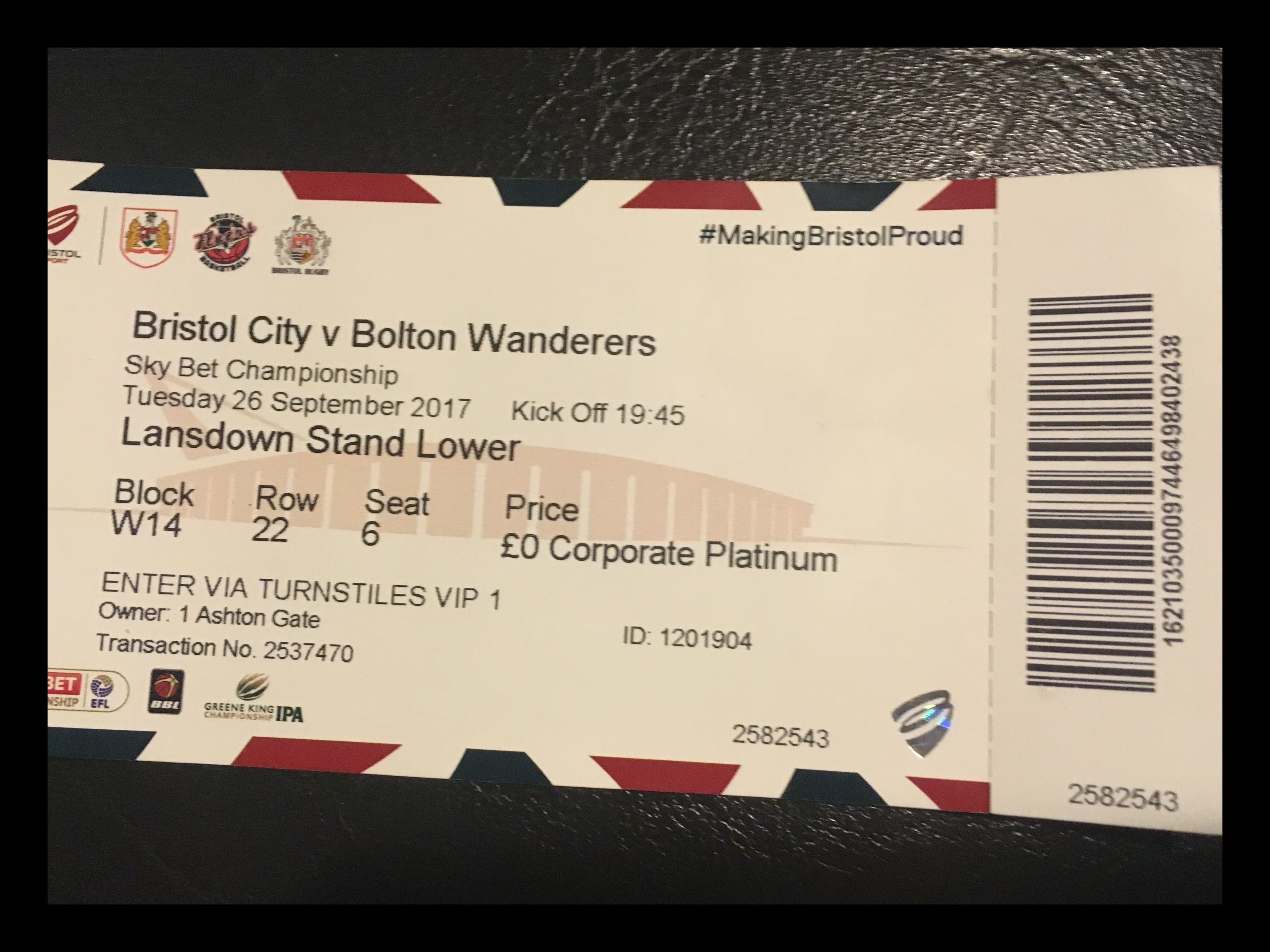 Bristol City v Bolton 26-09-17 Ticket