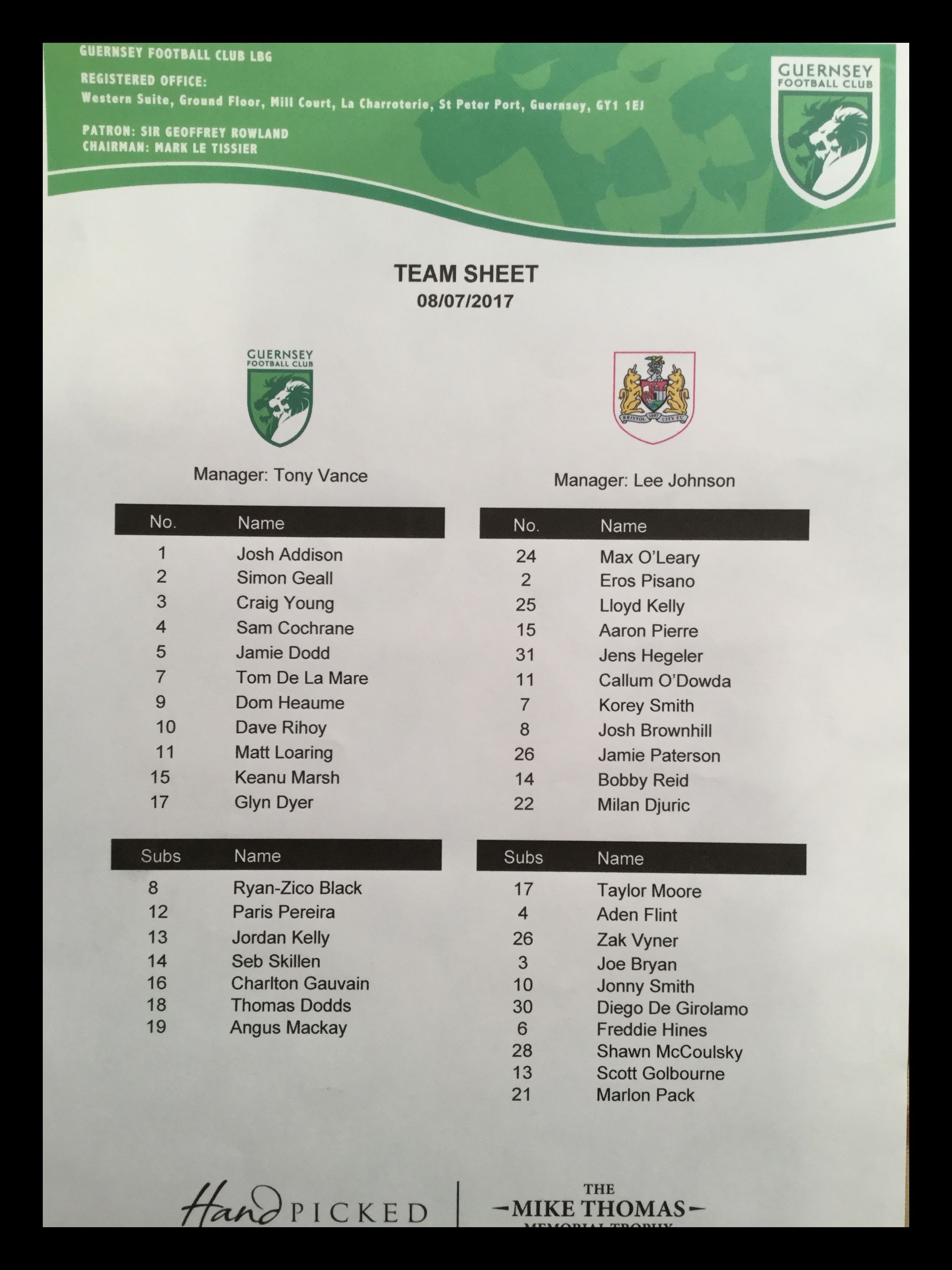 Guernsey v Bristol City 08-07-17 Team Sheet