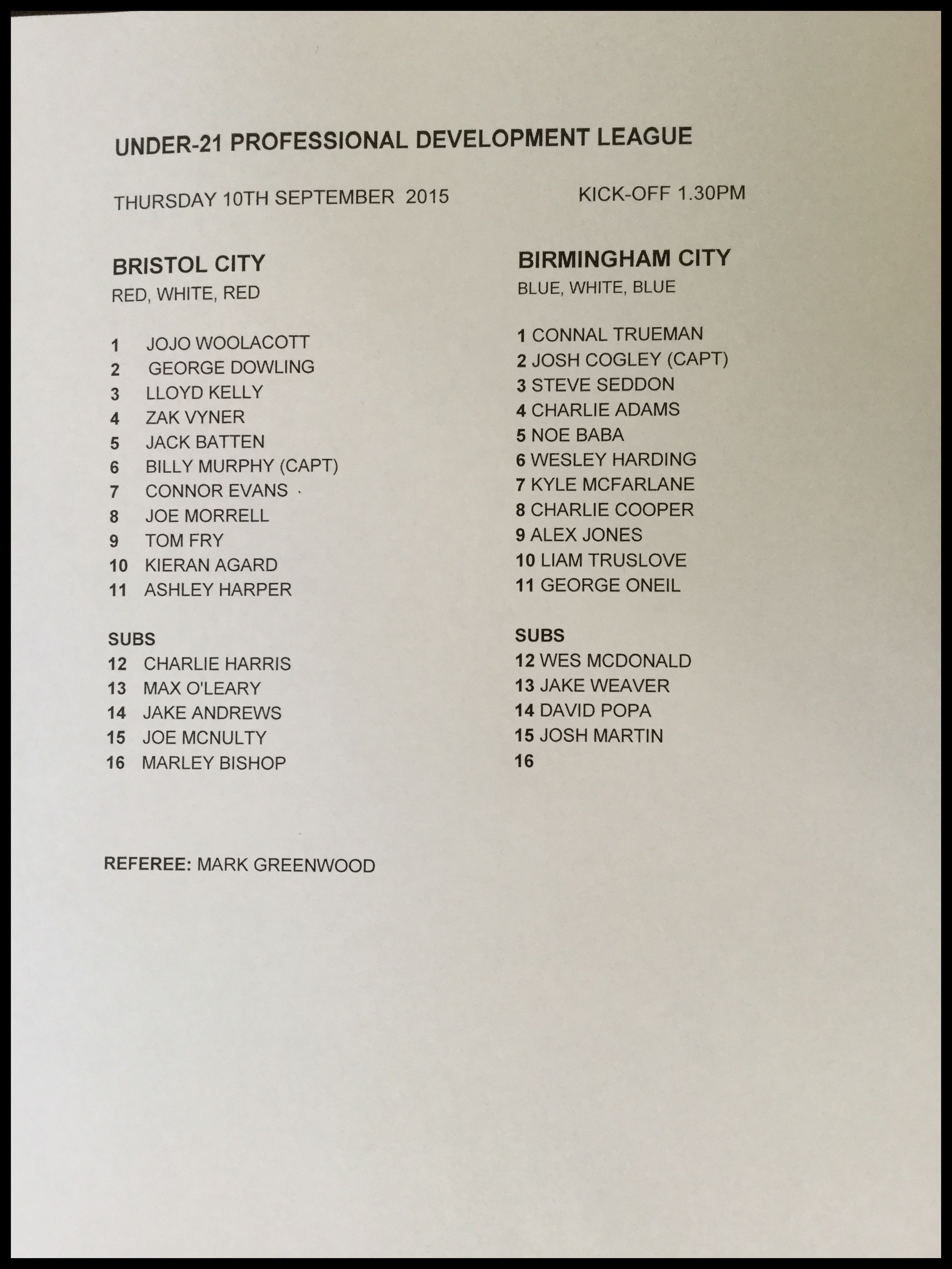 Bristol City v Birmingham City 10-09-15 Team Sheet