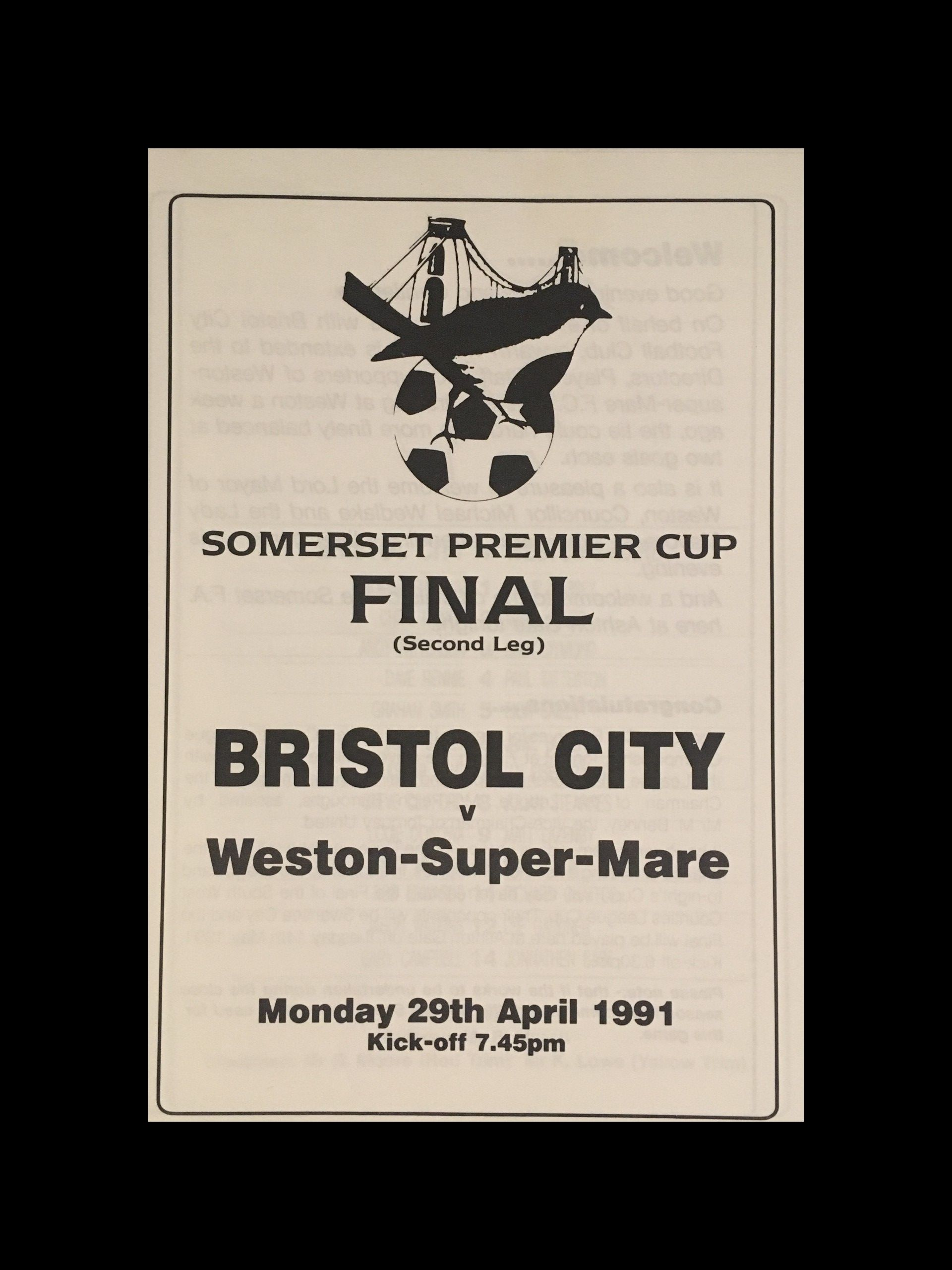 Bristol City v Weston Super Mare 29-04-1991 Programme