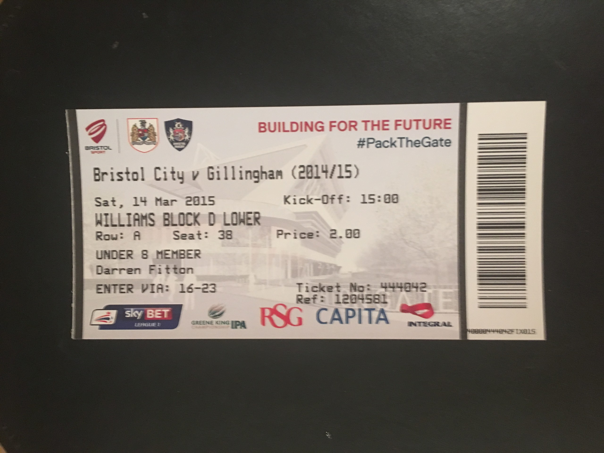 Bristol City v Gillingham 14-03-2015 Ticket
