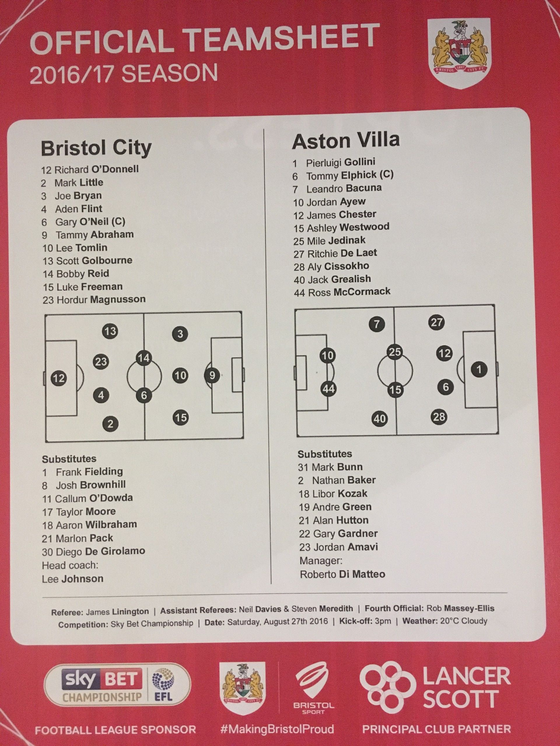Bristol City v Aston Villa 27-08-2016 Team Sheet