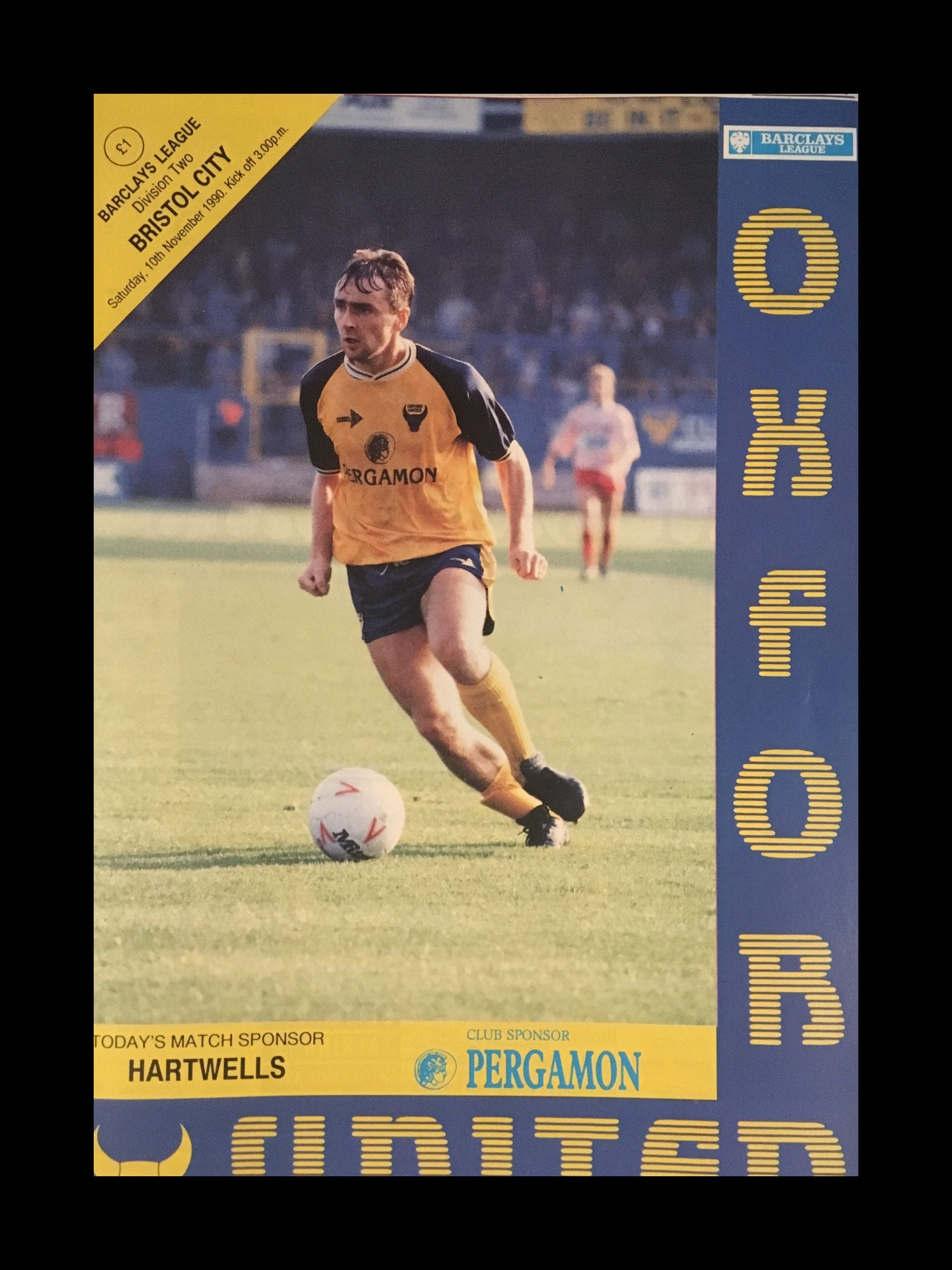 Oxford United v Bristol City 10-11-1990 Programme
