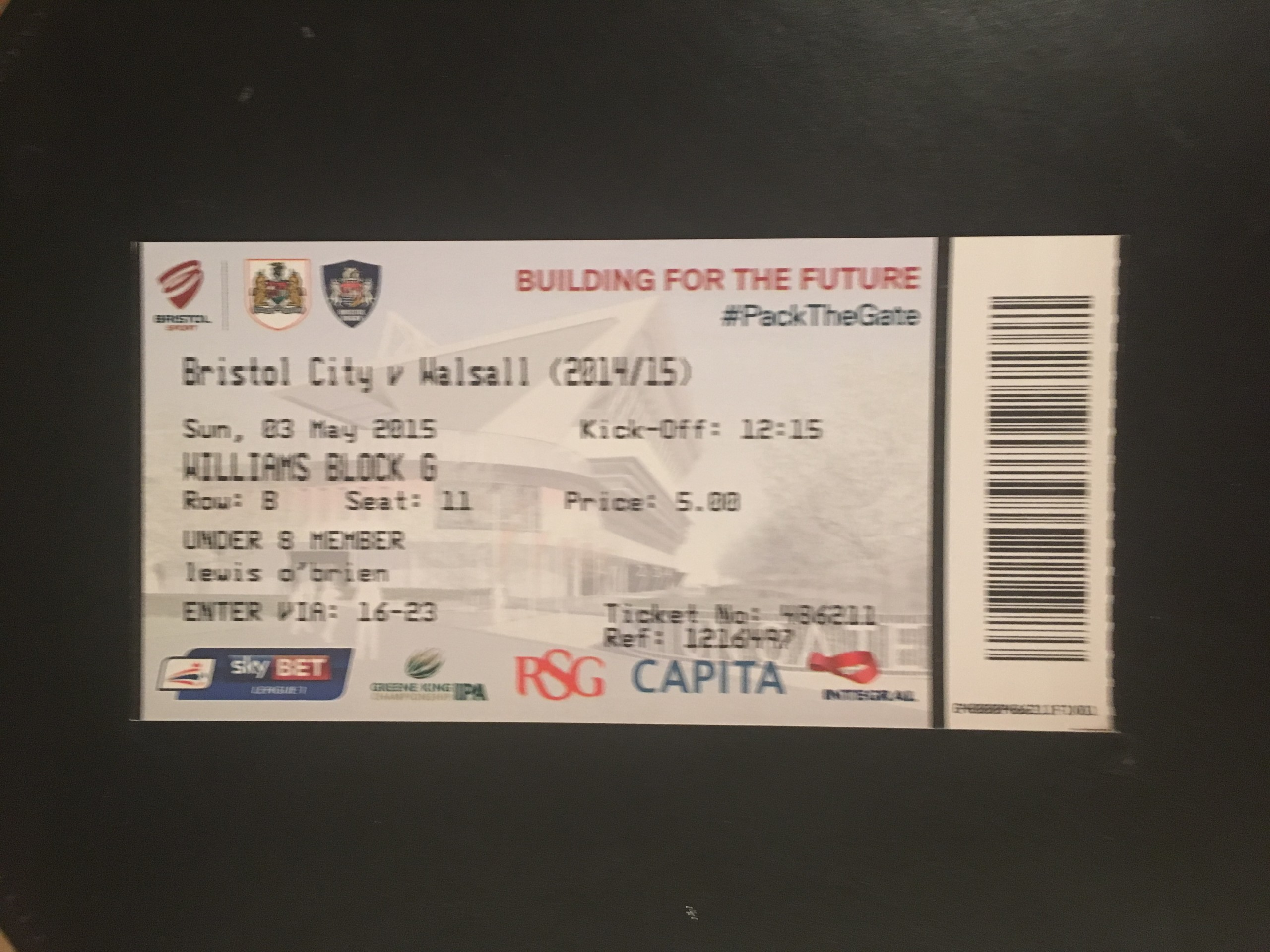 Bristol City v Walsall 03-05-2015 Ticket