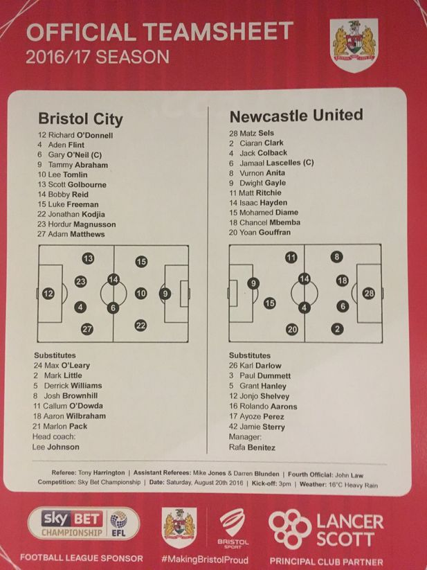 Bristol City v Newcastle United 20-08-2016 Team Sheet