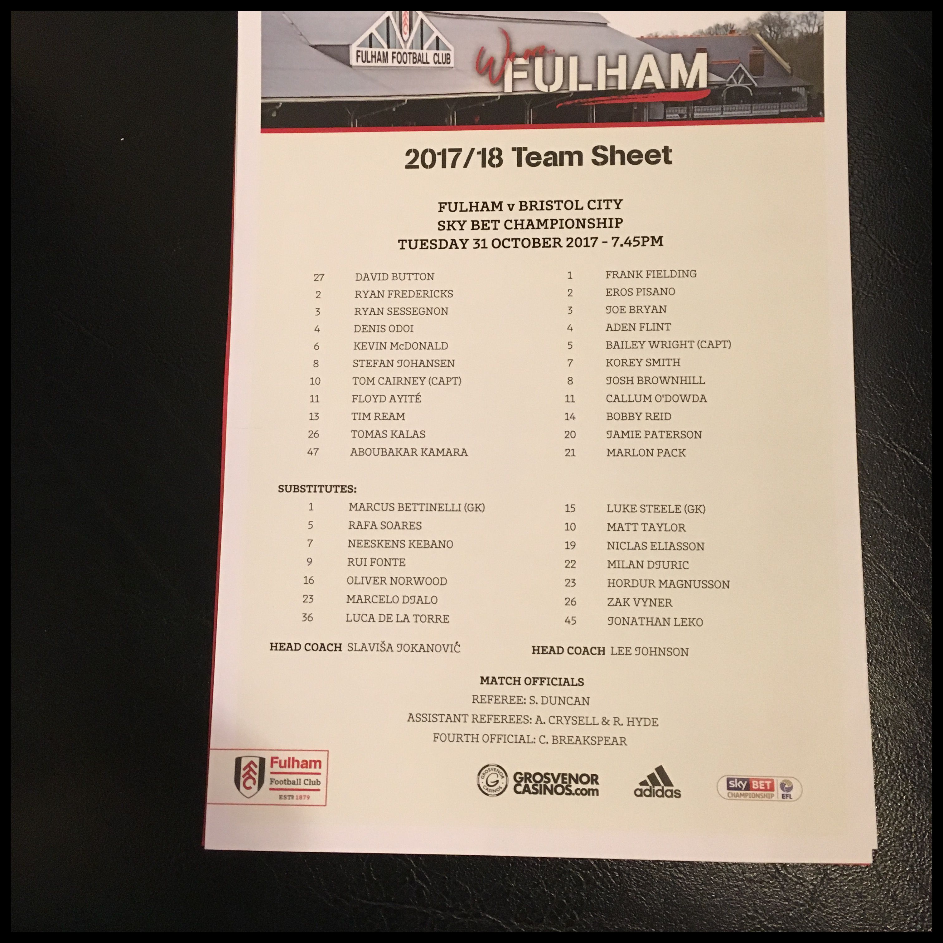 Fulham v Bristol City 31-10-17 Team Sheet