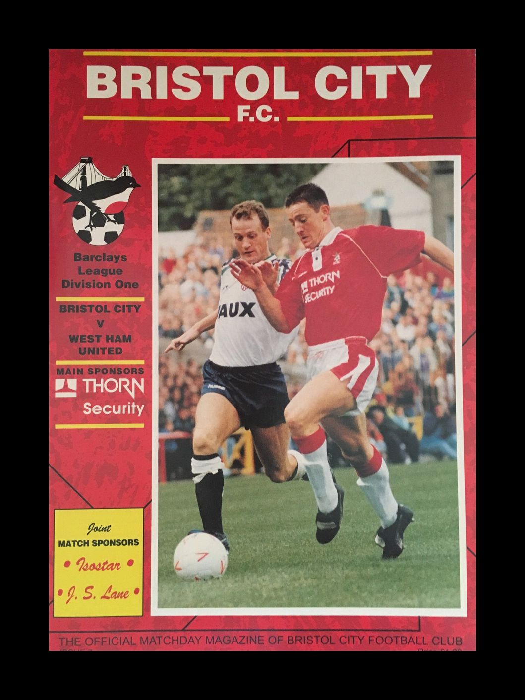 Bristol City v West Ham United 15-09-1992 Programme