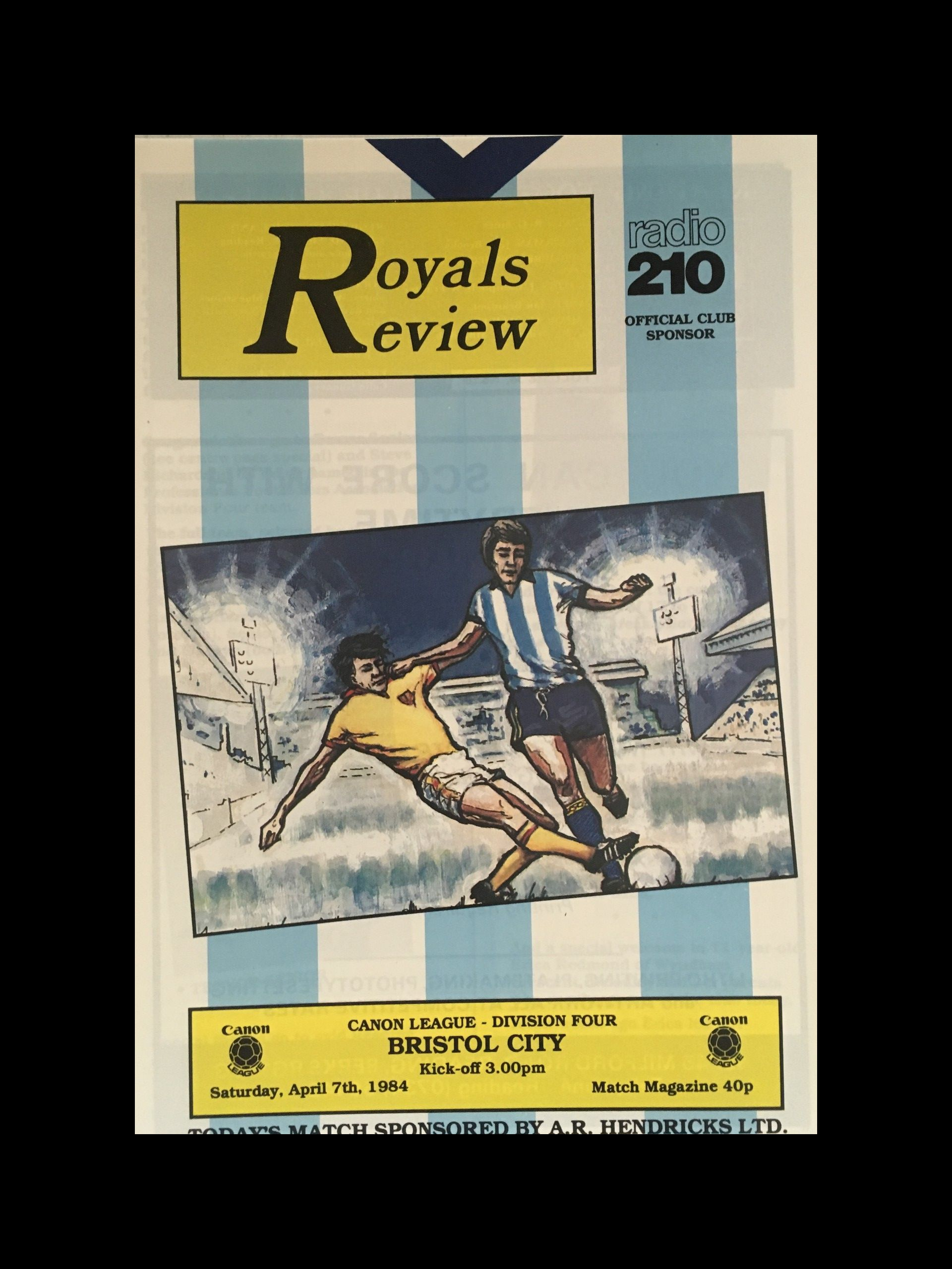 Reading v Bristol City 07-04-84 Programme