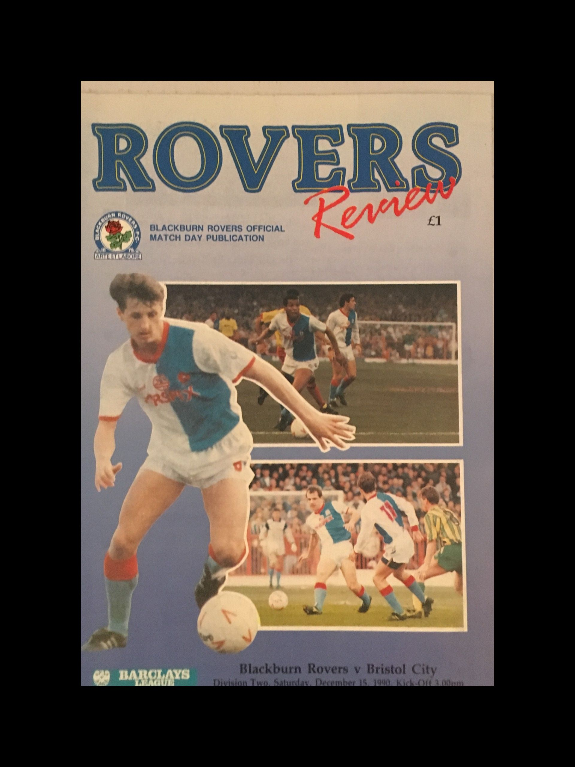Blackburn Rovers v Bristol City 15-12-1990 Programme