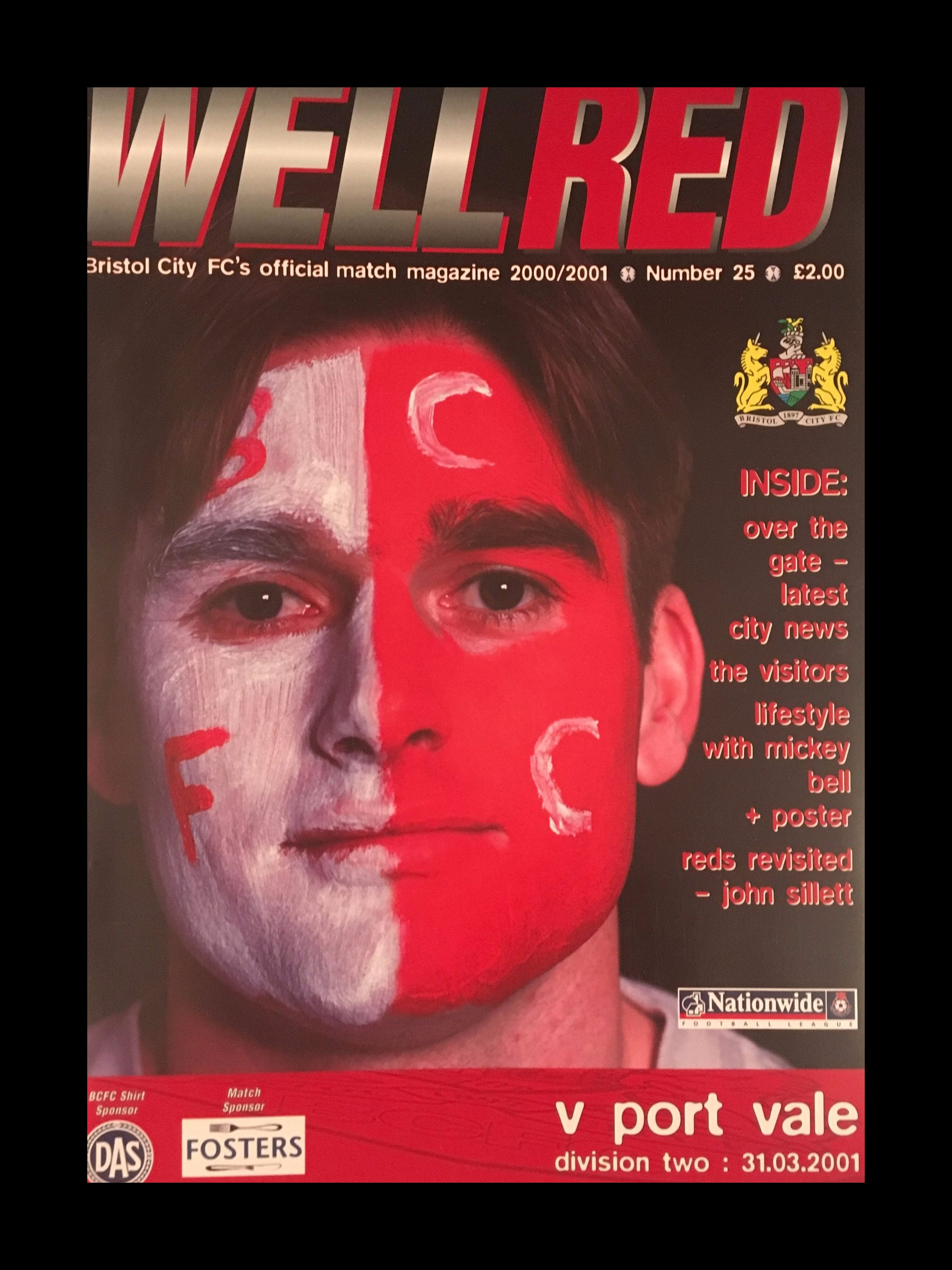 Bristol City v Port Vale 31-03-2001 Programme