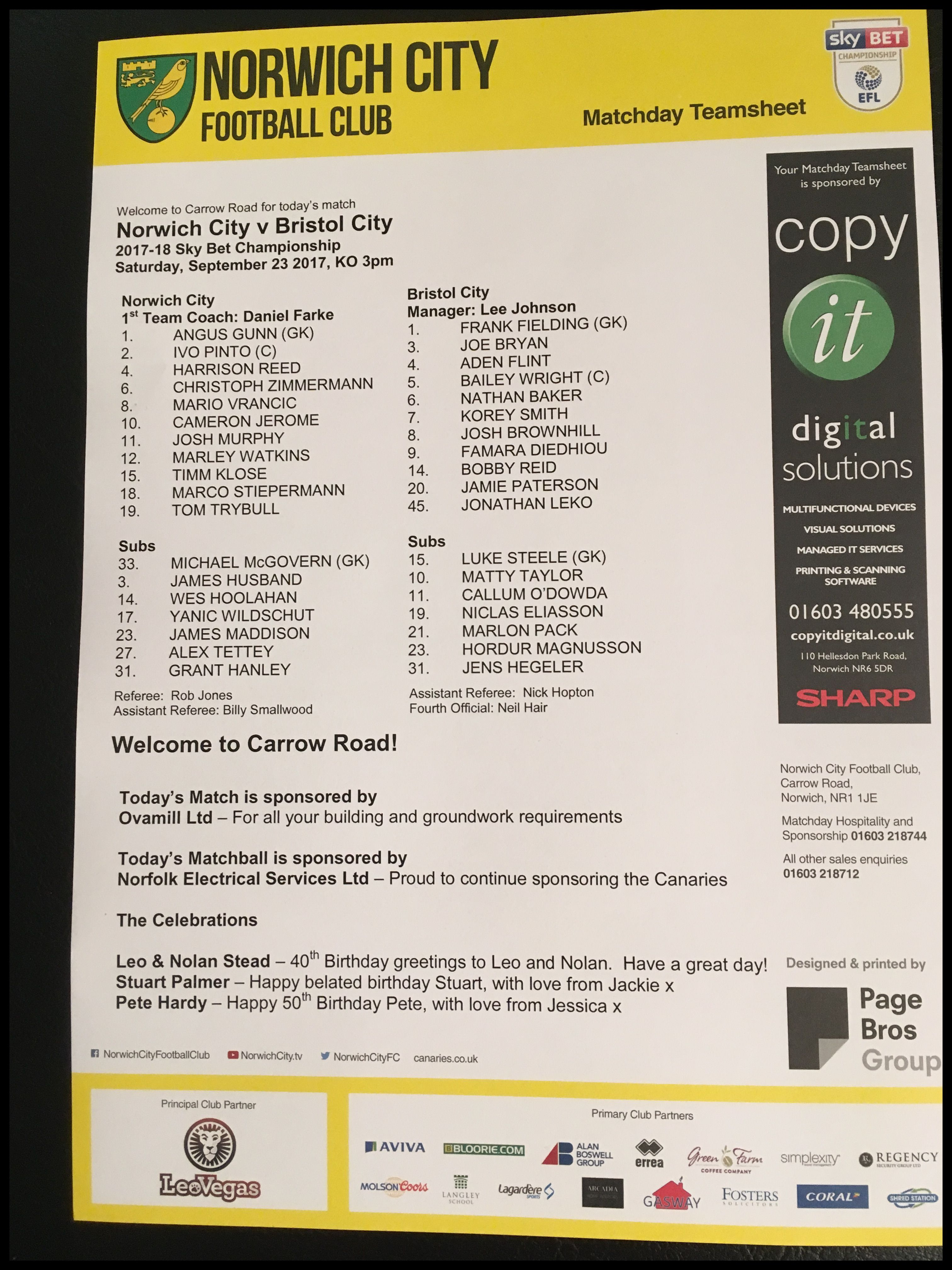 Norwich City v Bristol City 23-09-17 Team Sheet