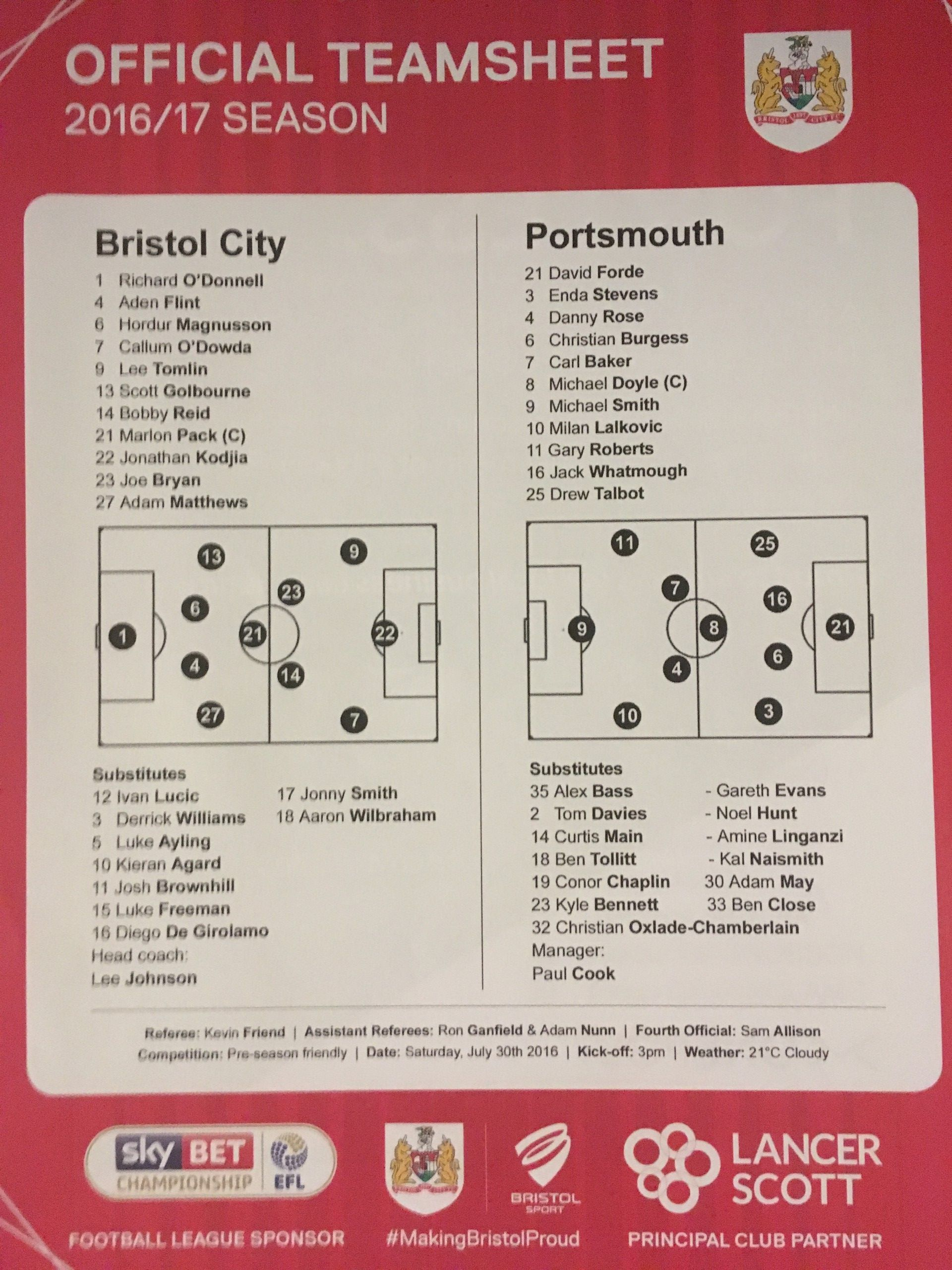 Bristol City v Portsmouth 30-07-2016 Team Sheet