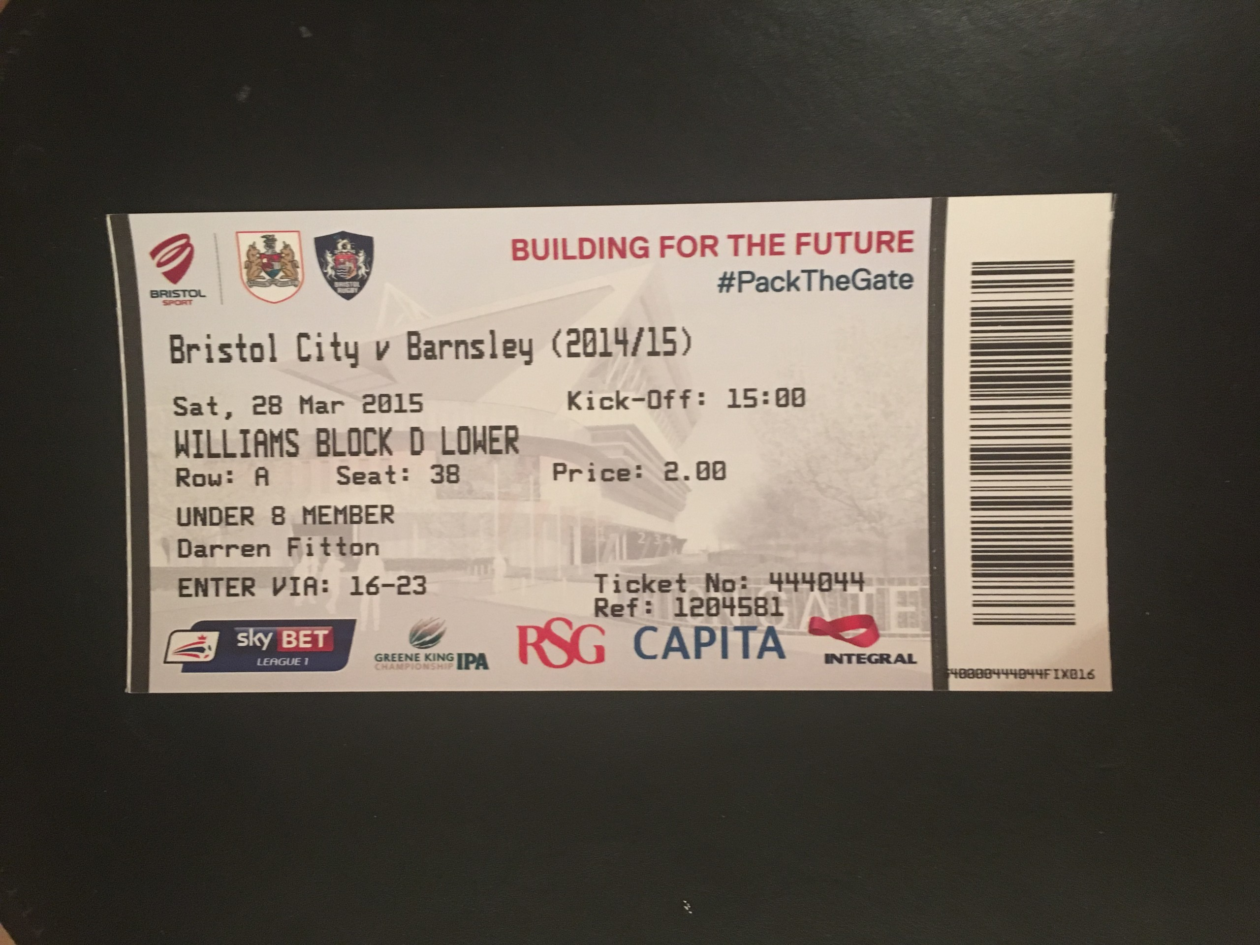 Bristol City v Barnsley 28-03-2015 Ticket