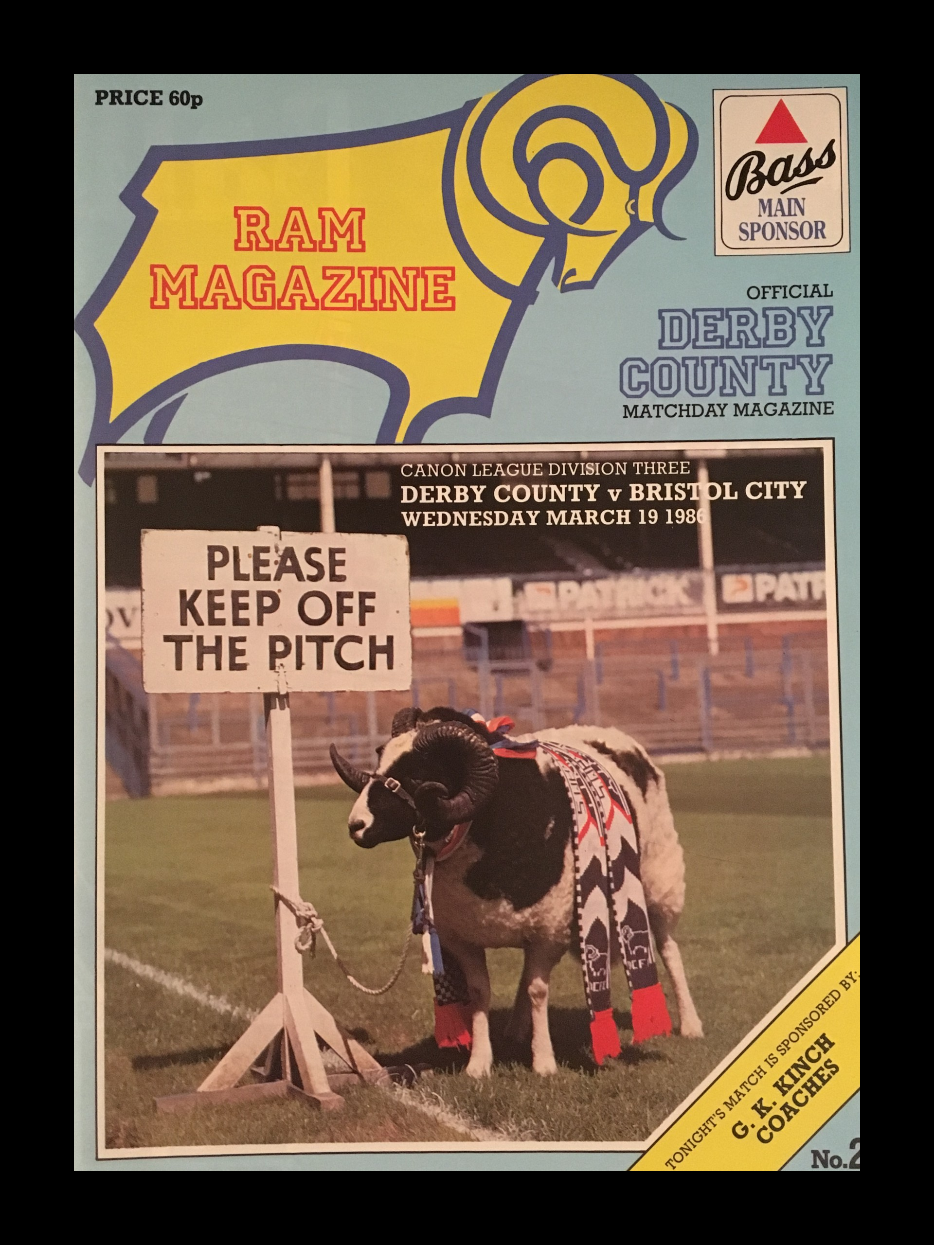 Derby County v Bristol City 19-03-86 Programme