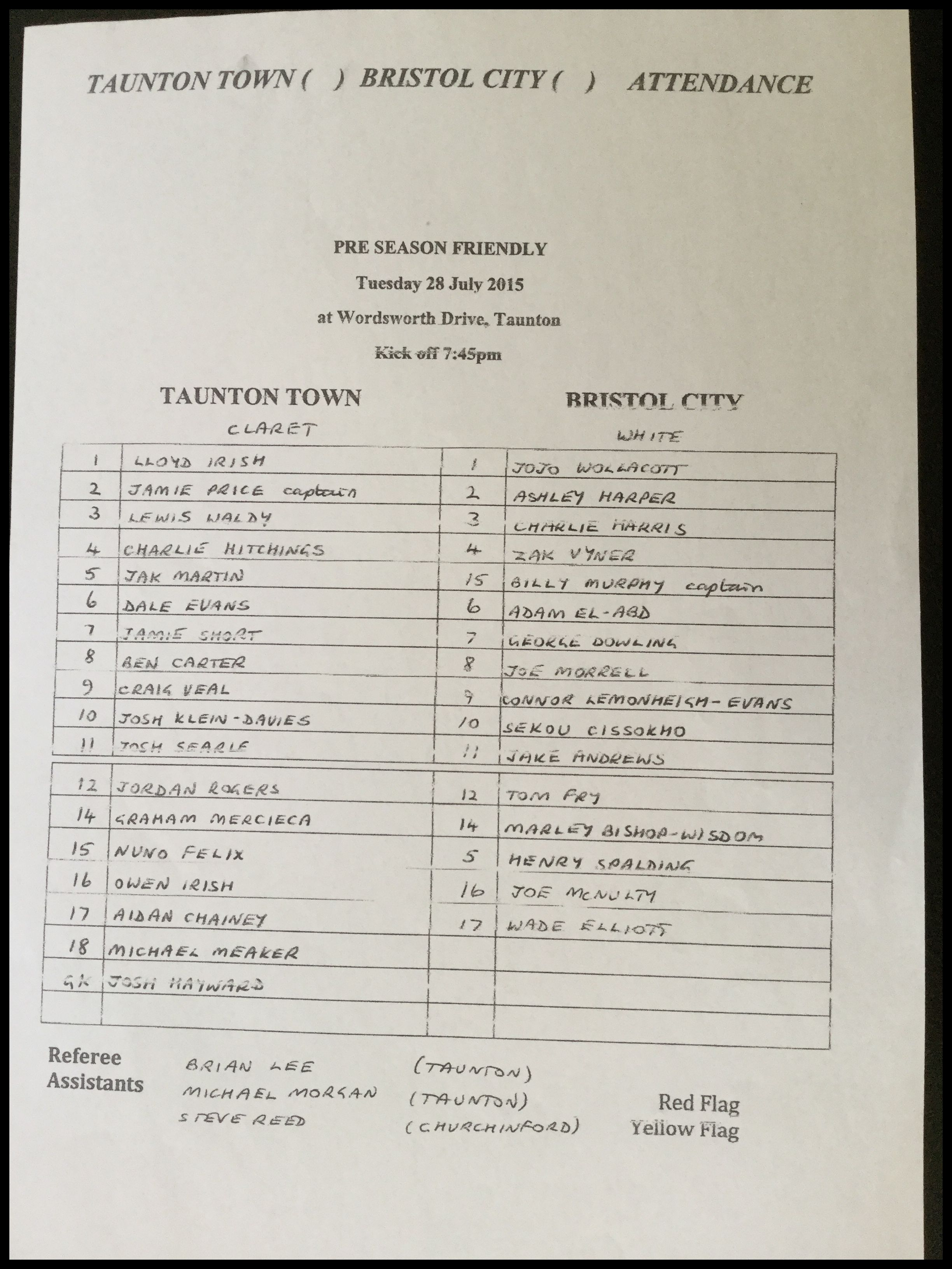 Taunton Town v Bristol City 28-07-15 Team Sheet