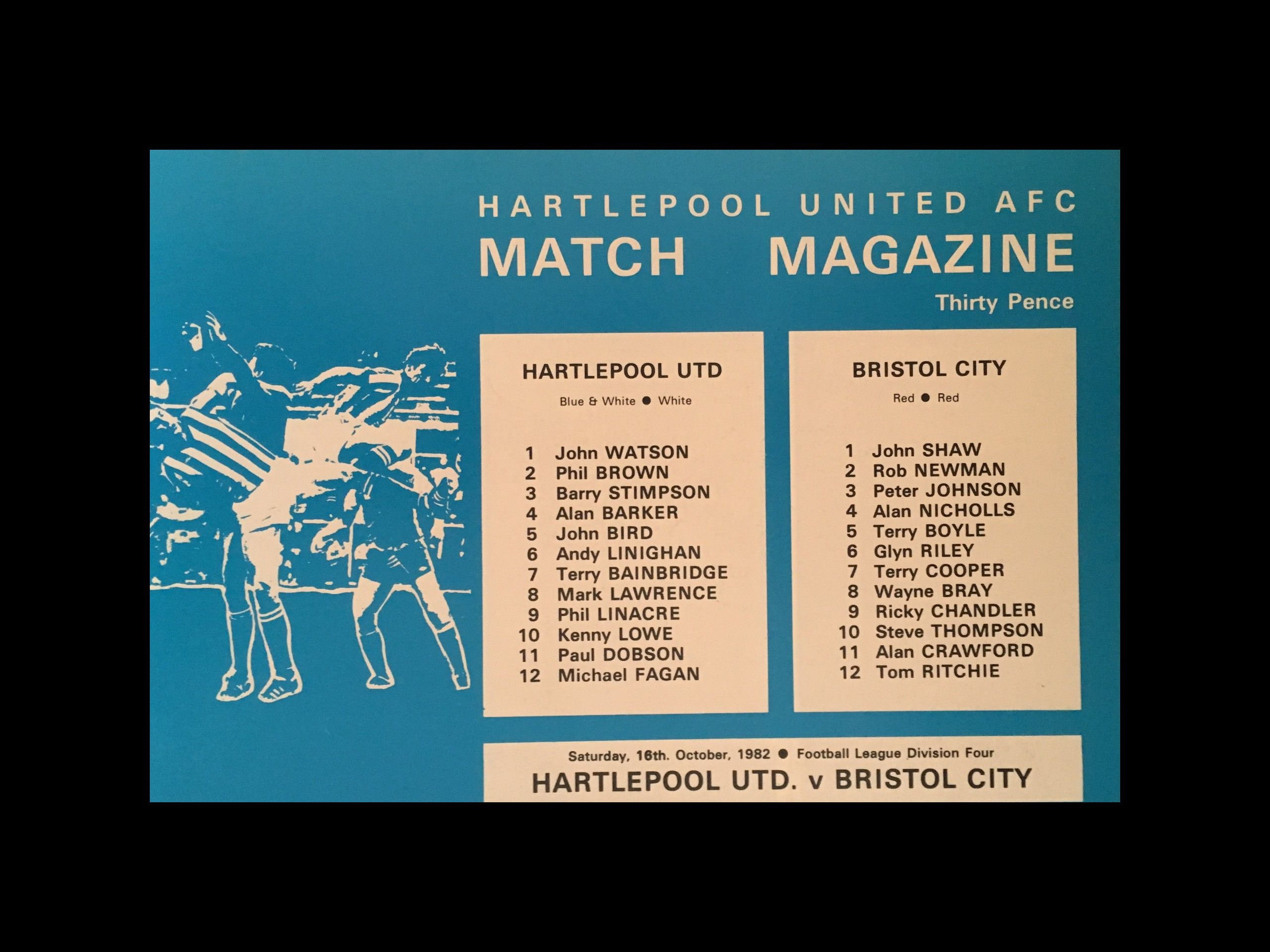 Hartlepool United v Bristol City 16-10-82 Programme