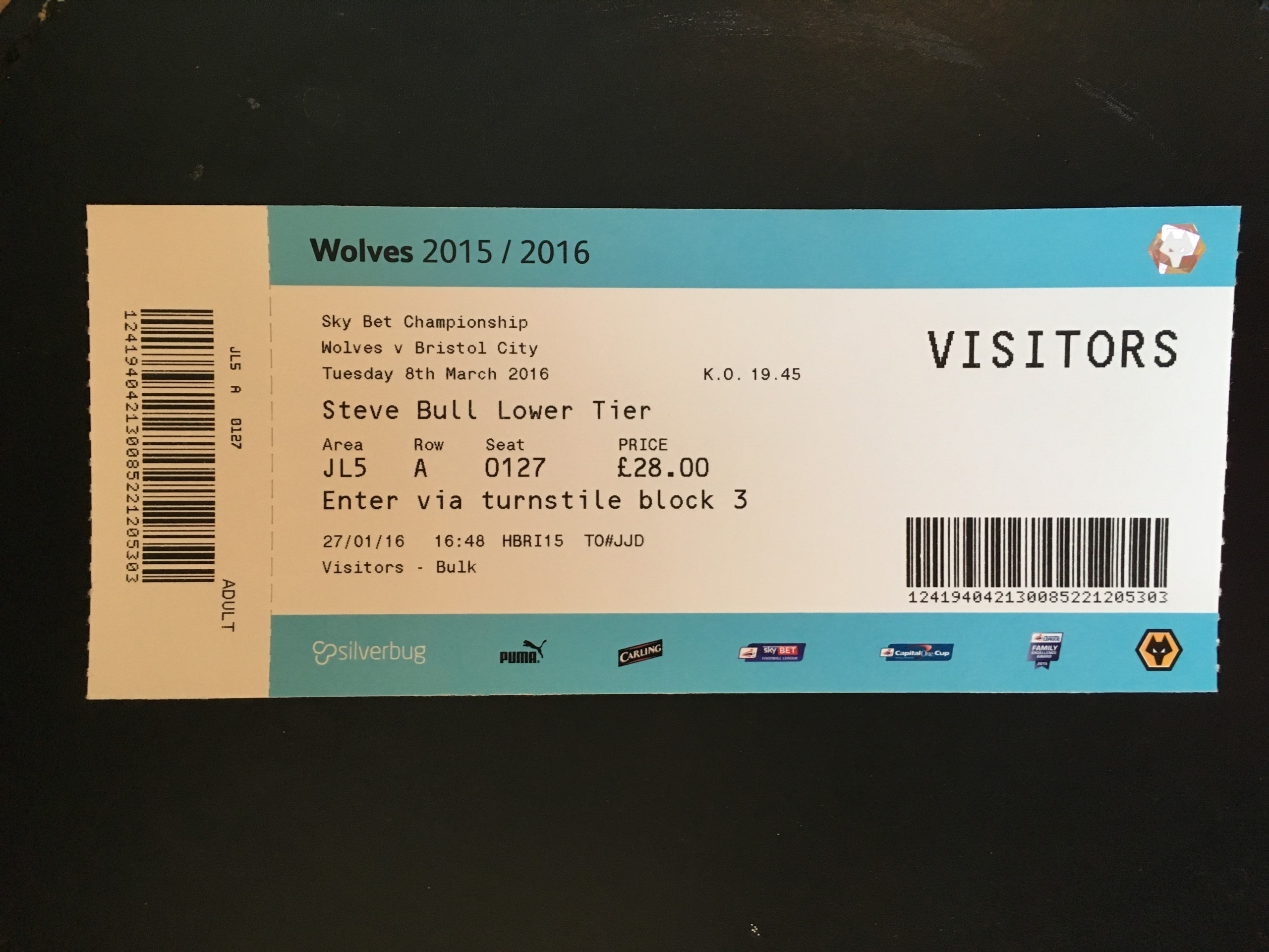 Wolves v Bristol City 08-03-2016 Ticket