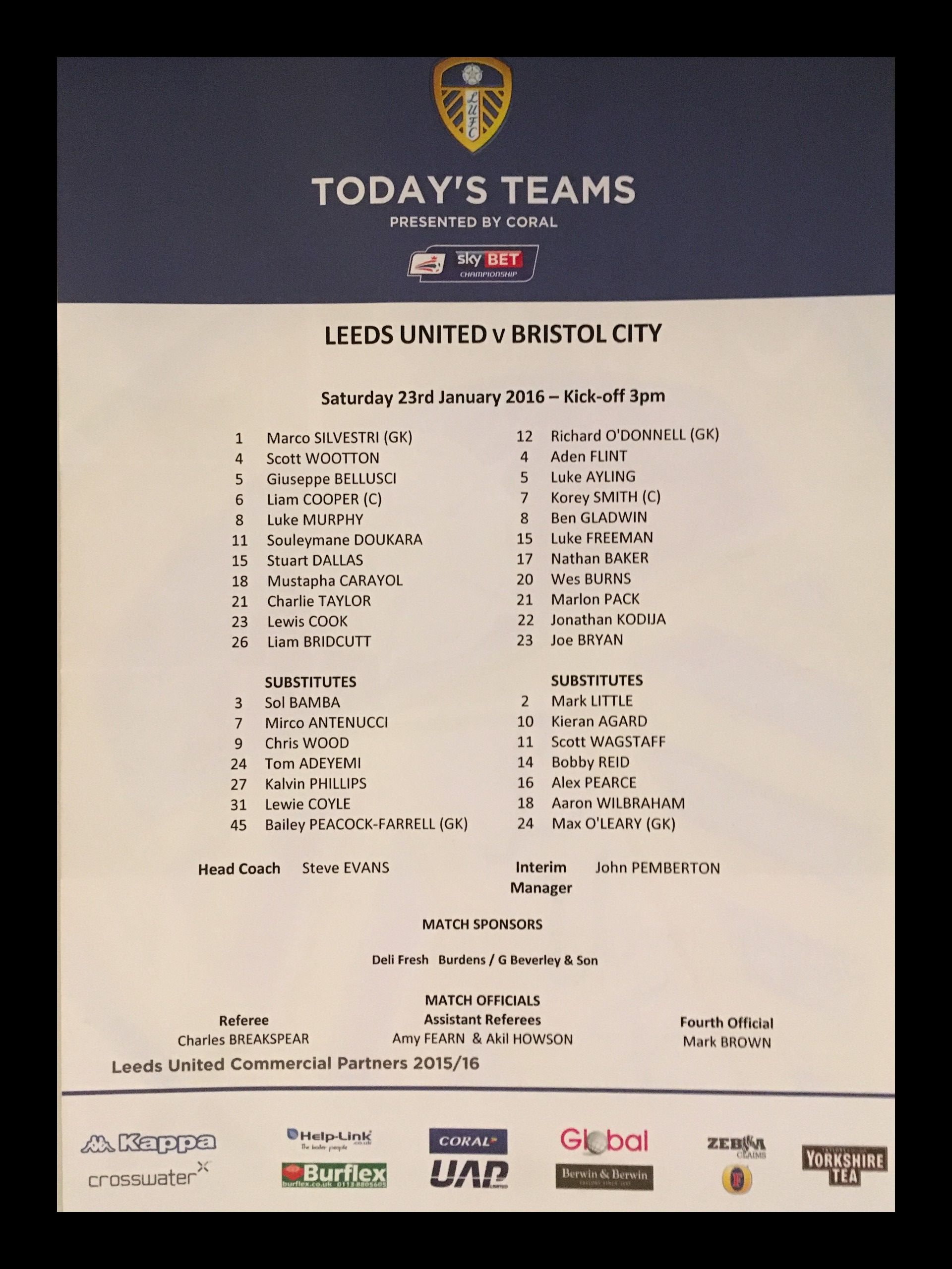 Leeds United v Bristol City 23-01-2016 Team Sheet