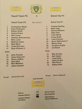 Yeovil Town v Bristol City 30-07-2015 Team Sheet