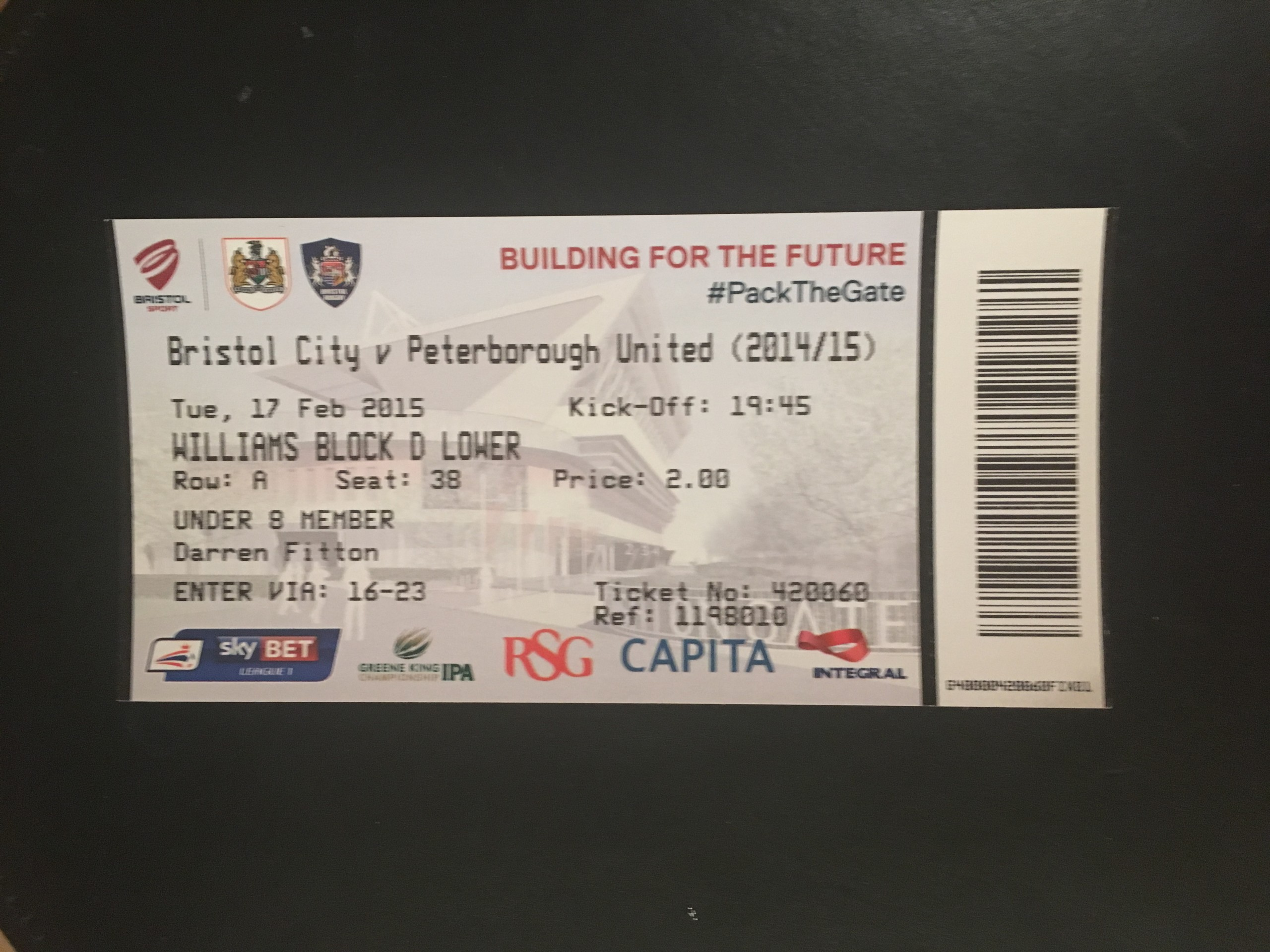 Bristol City v Peterborough United 17-02-2015 Ticket