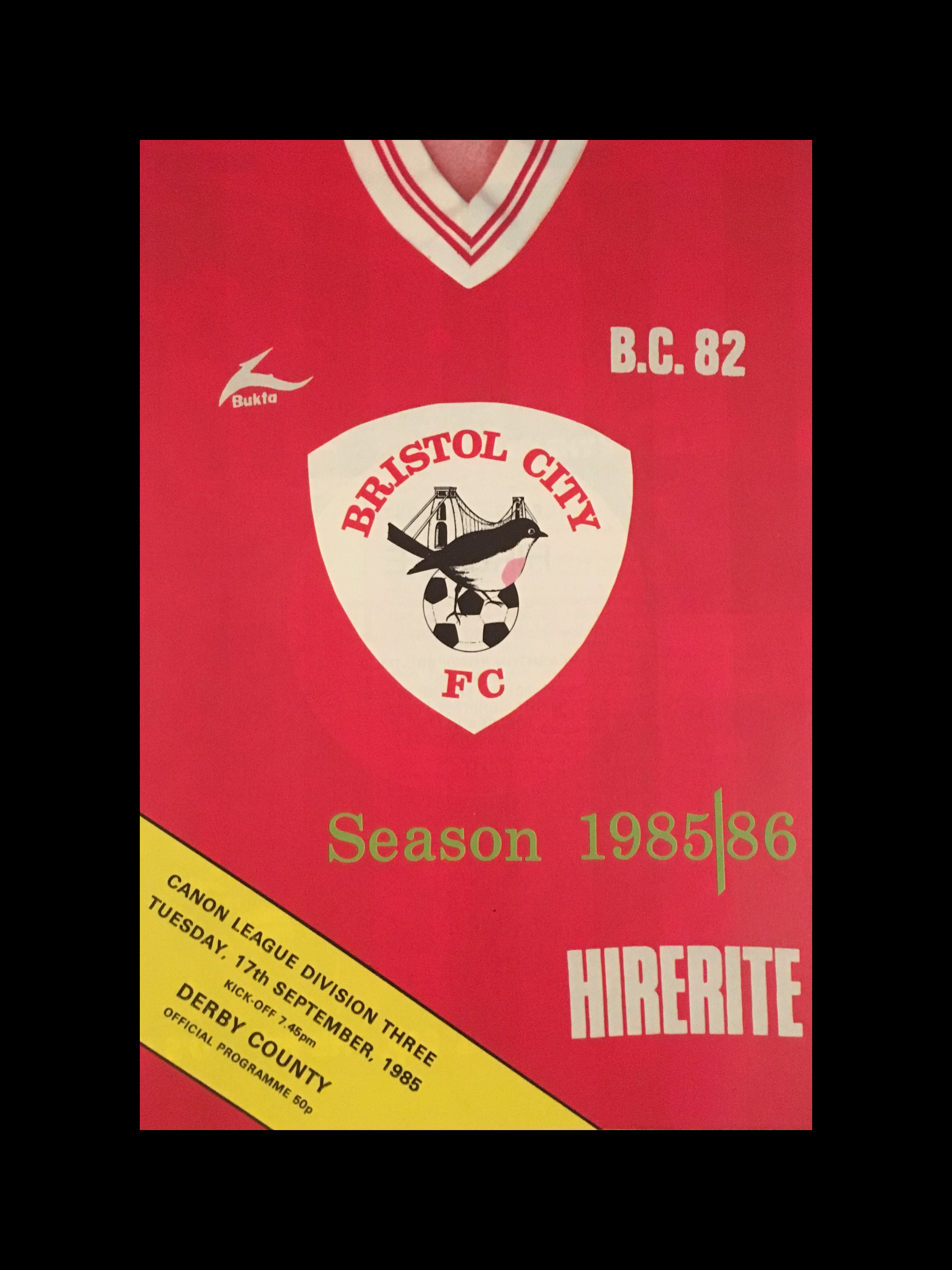 Bristol City v Derby County 17-09-85 Programme