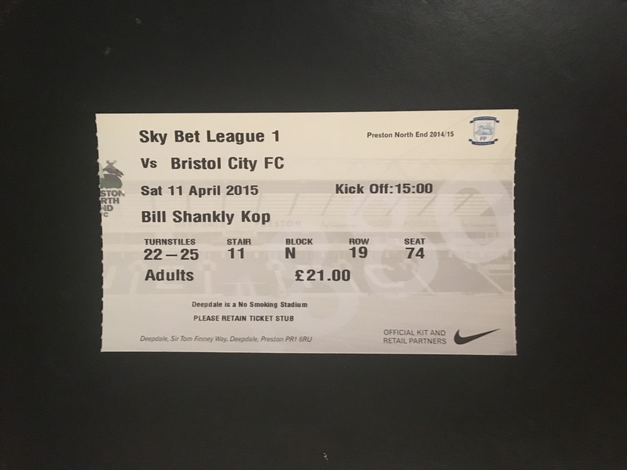 Preston North End v Bristol City 11-04-2015 Ticket