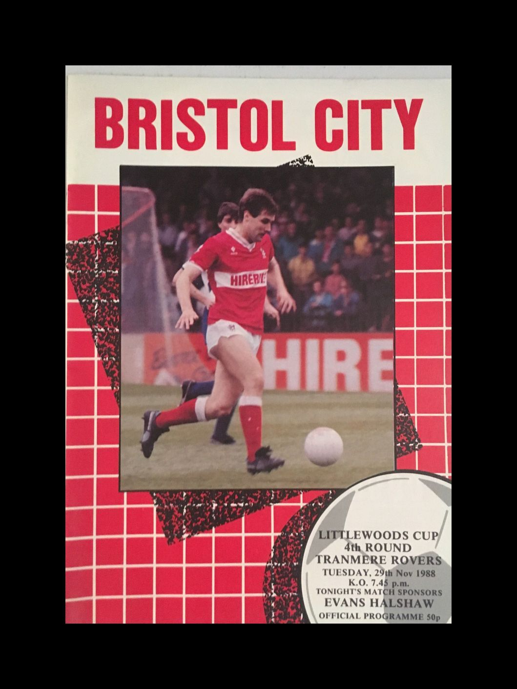 Bristol City v Tranmere Rovers 29-11-1988 Programme