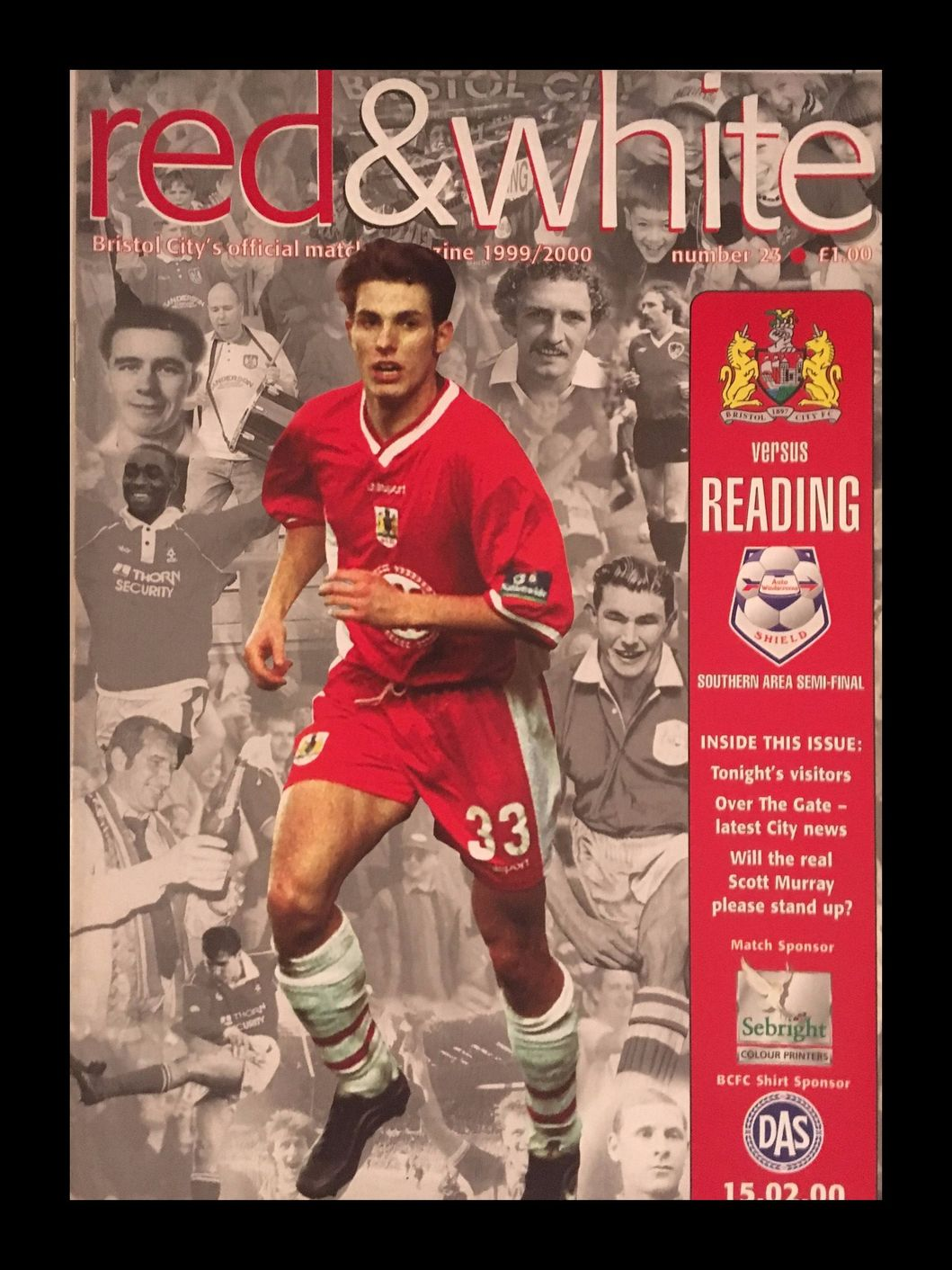 Bristol City v Reading 15-02-2000 Programme