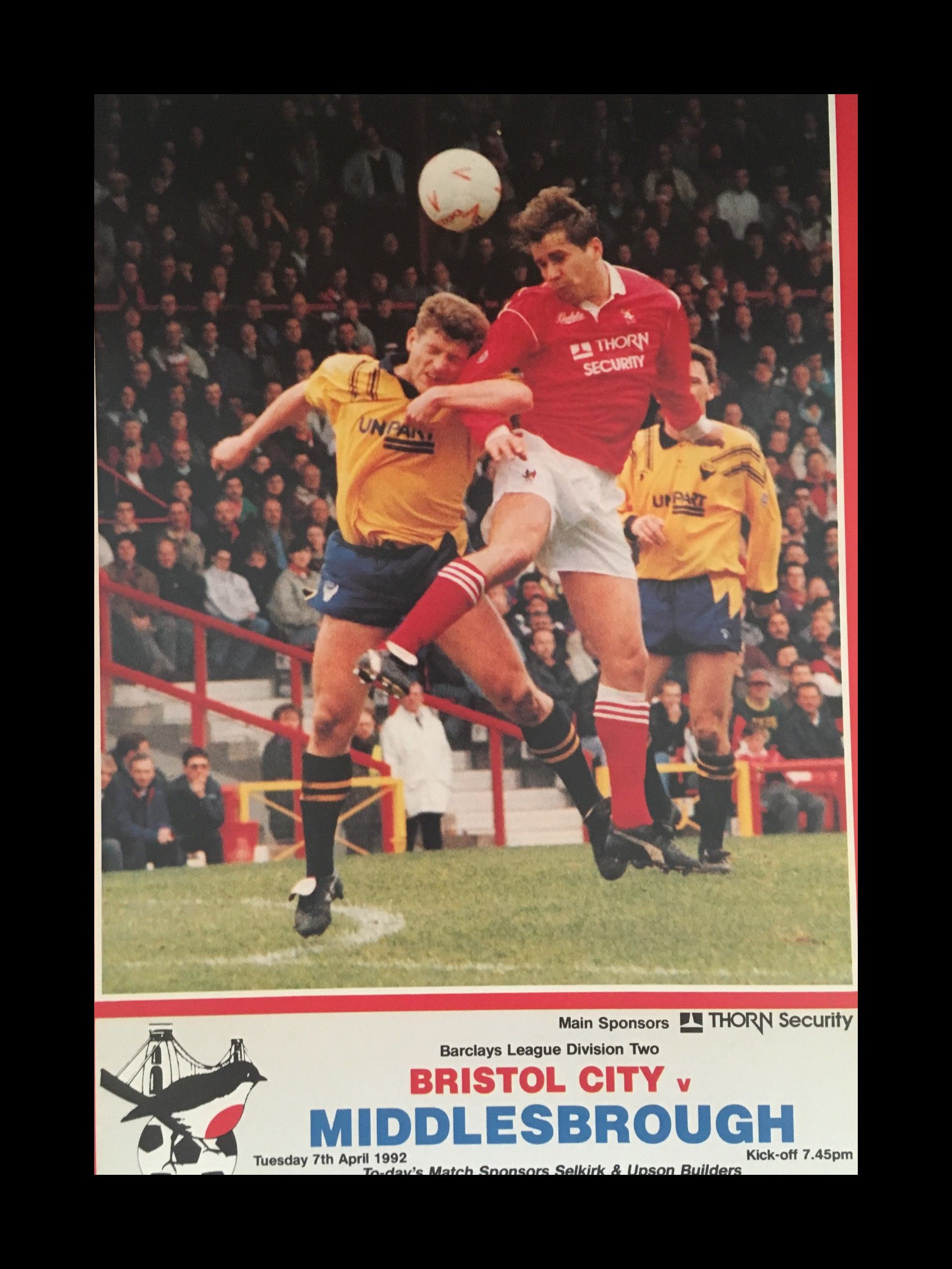 Bristol City v Middlesborough 07-04-1992 Programme