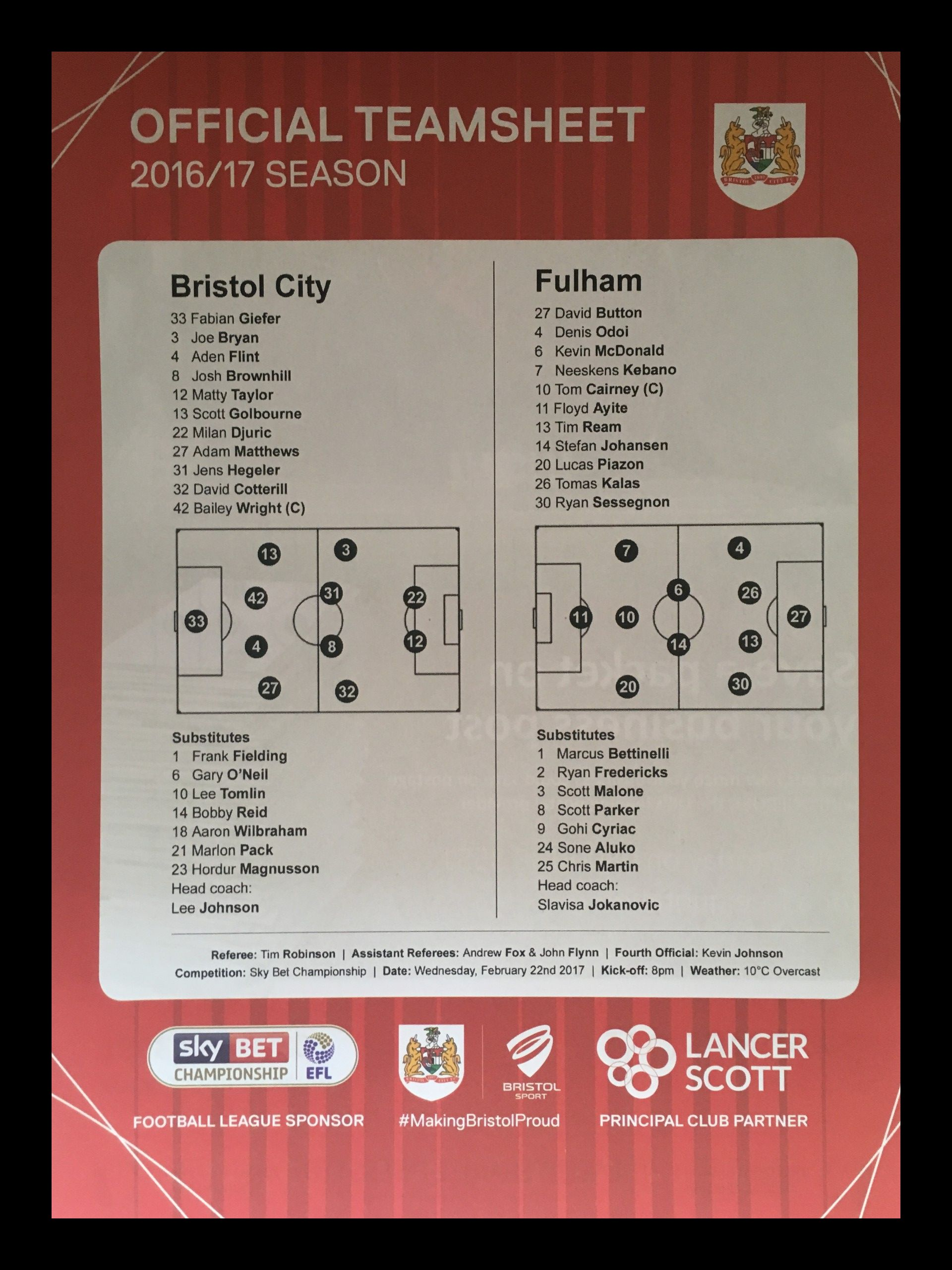 Bristol City v Fulham 22-02-17 Team Sheet