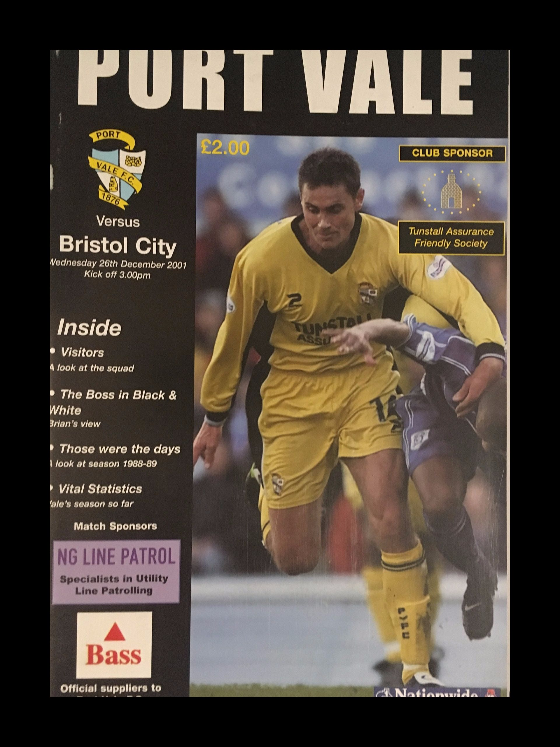 Port Vale v Bristol City 26-12-2001 Programme