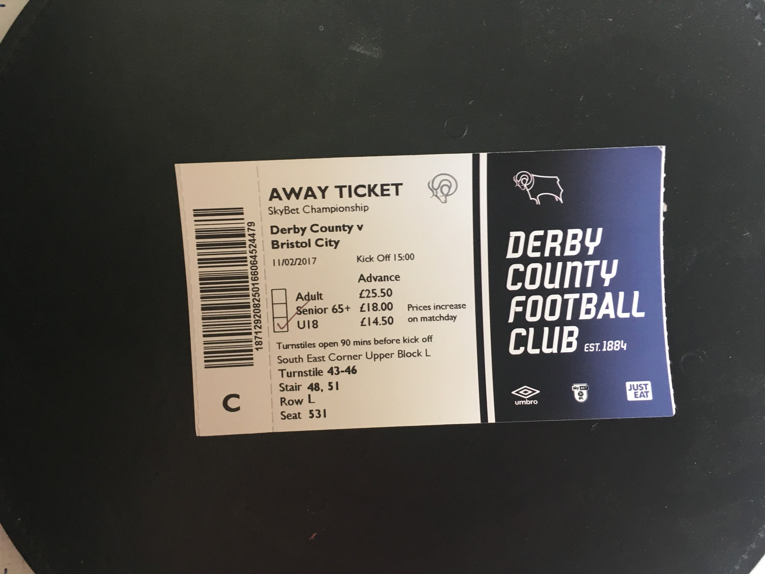 Derby County v Bristol City 11-02-17 Ticket