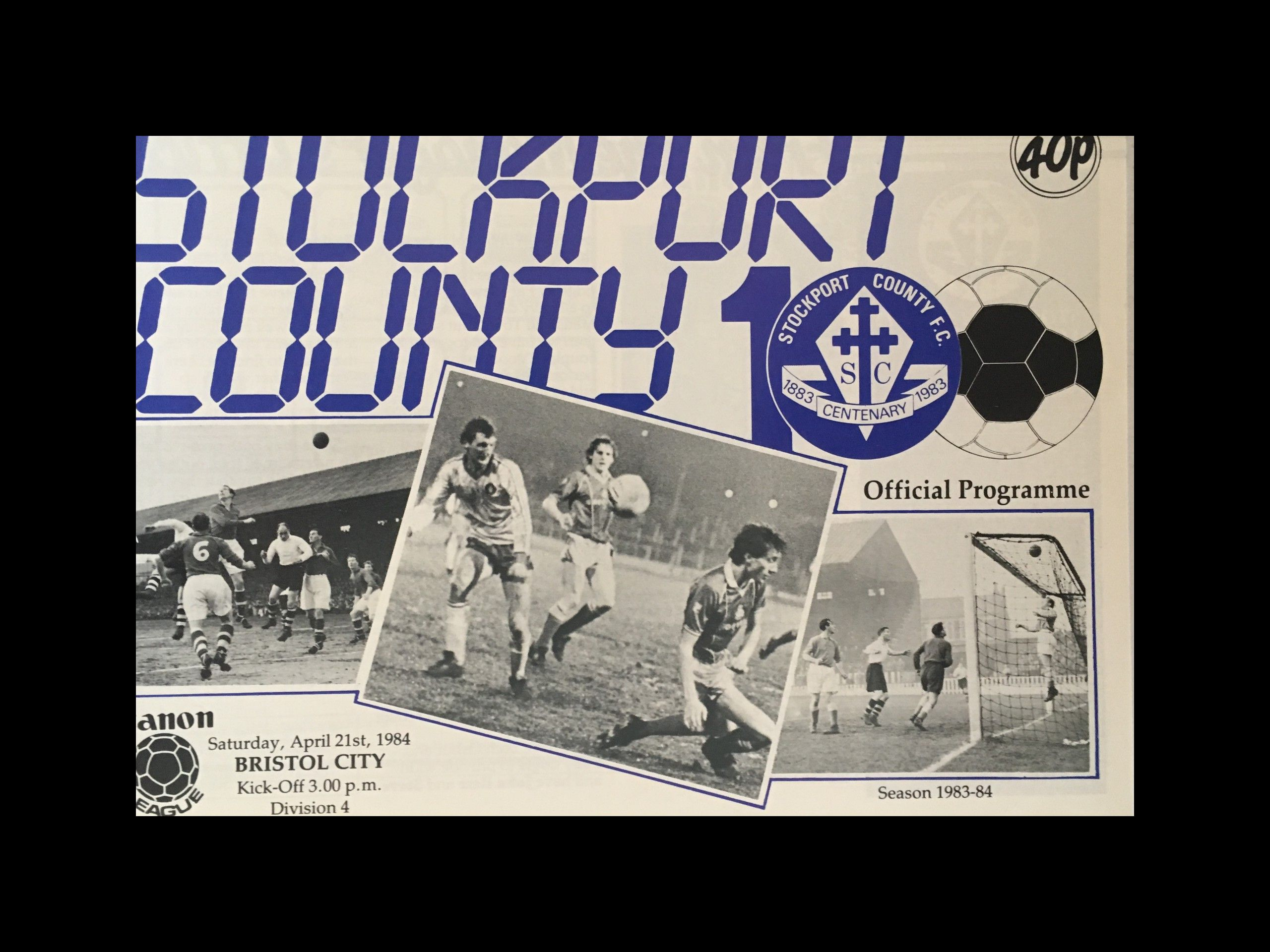 Stockport County v Bristol City 21-04-84 Programme