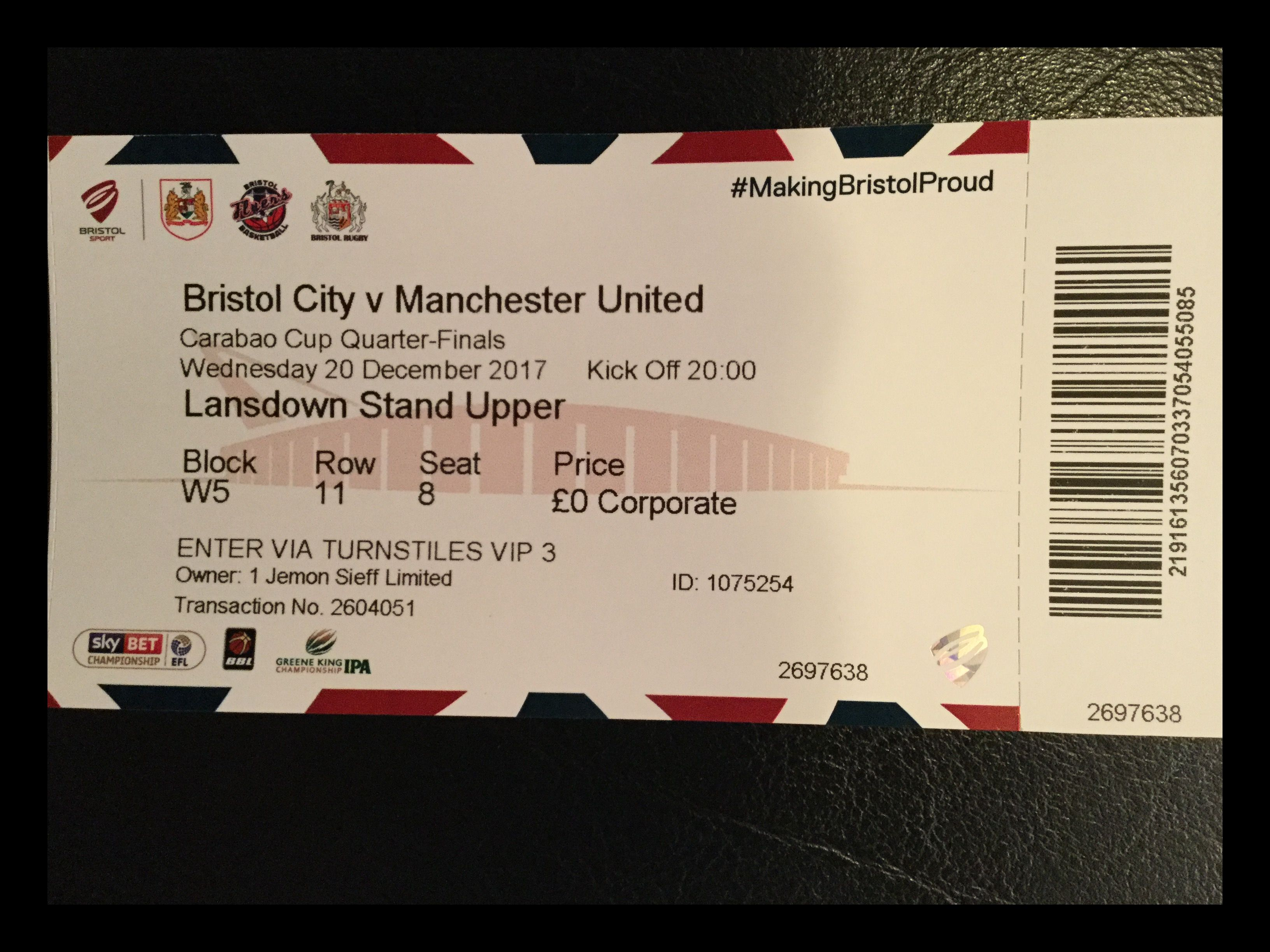 Bristol City v Manchester United 20-12-17 Ticket