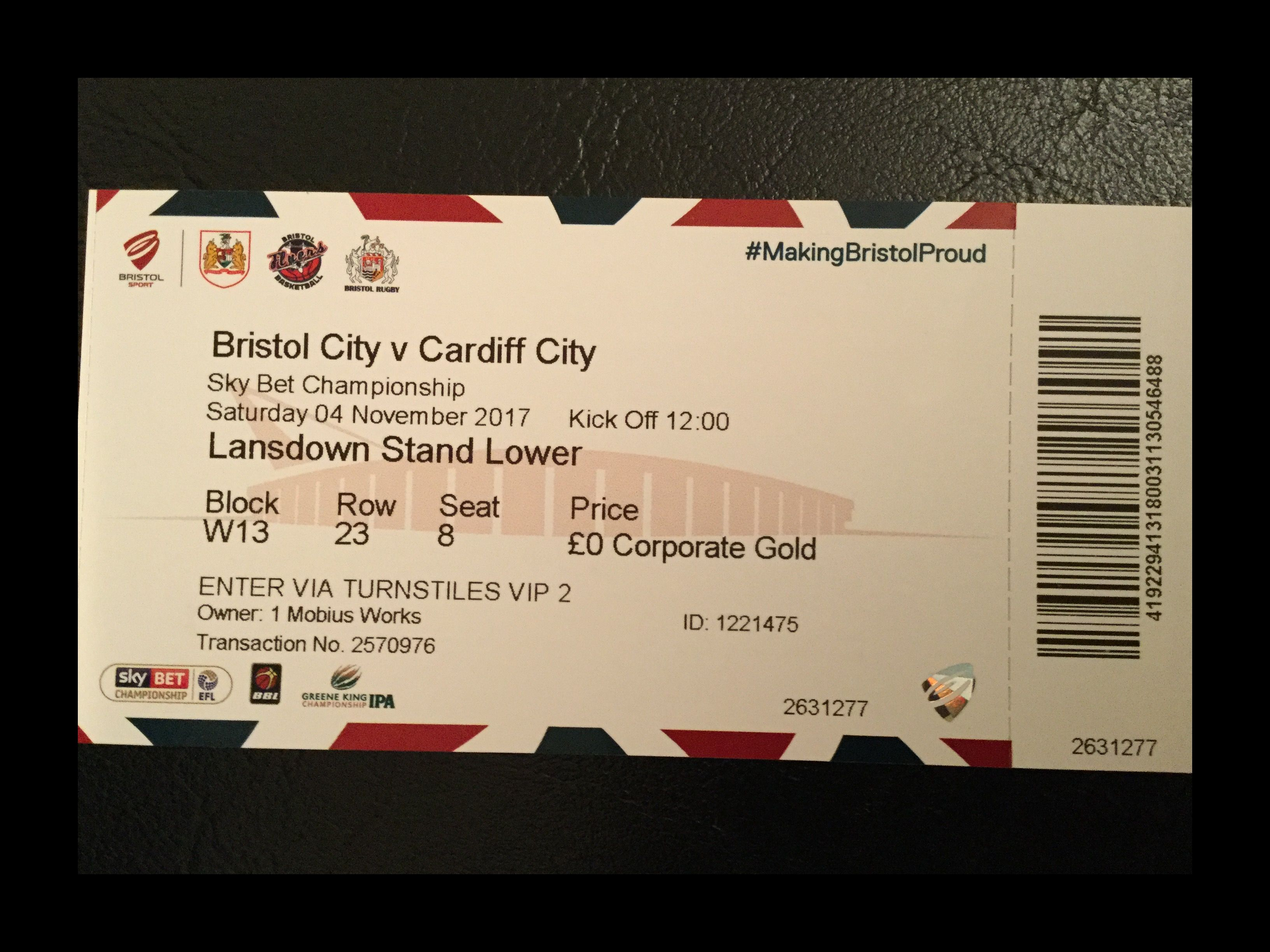 Bristol City v Cardiff City 04-11-2017 Ticket