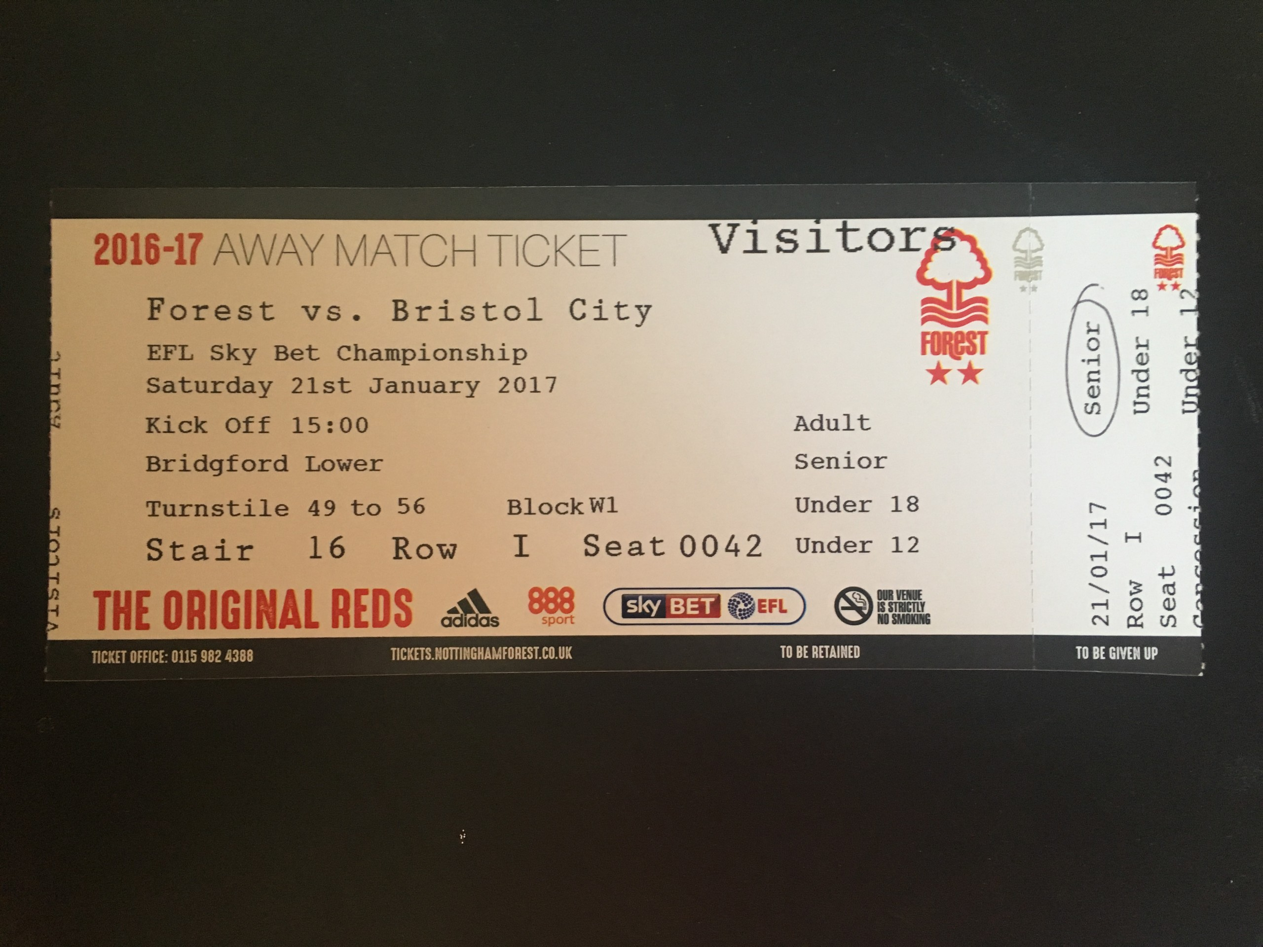 Nottingham Forest v Bristol City 21-01-17 Ticket
