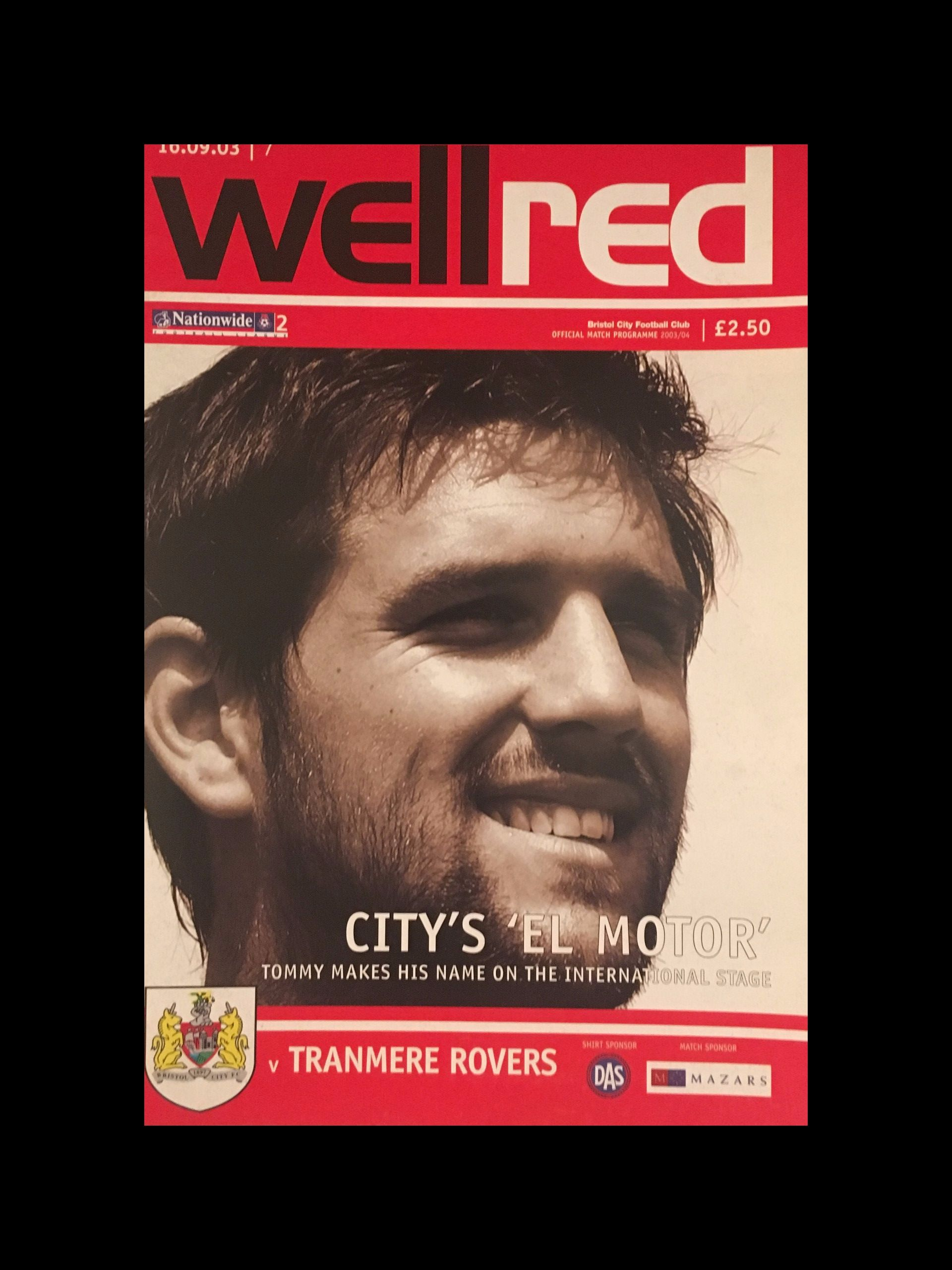 Bristol City v Tranmere Rovers 16-09-2003 Programme