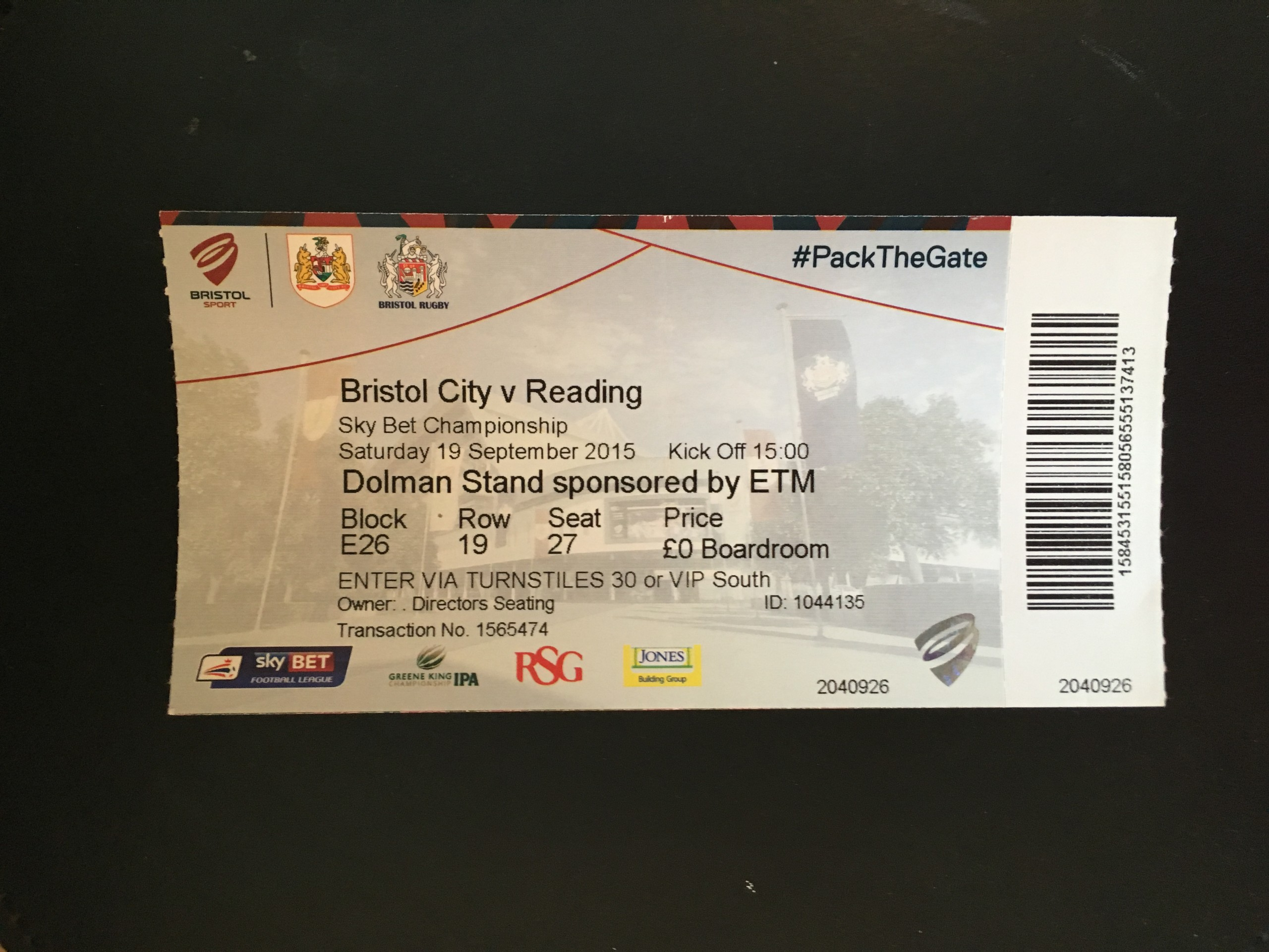 Bristol City v Reading 19-09-2015 Ticket