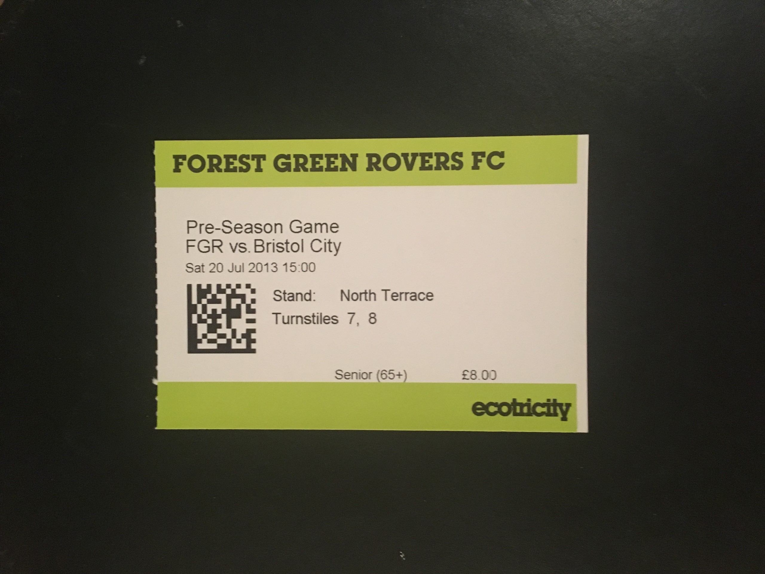 Forest Green Rovers v Bristol City 20-07-2013 Ticket