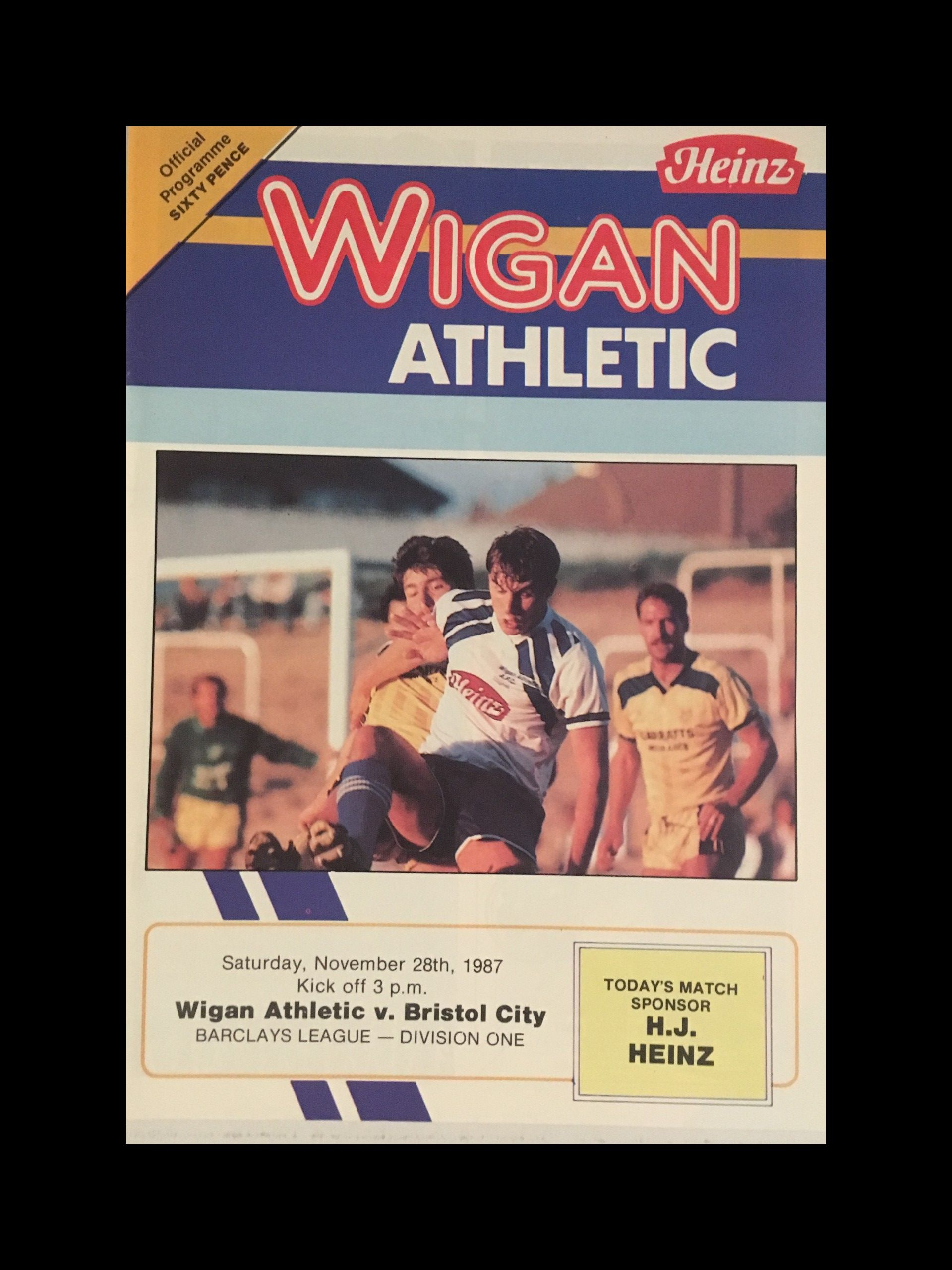Wigan Athletic v Bristol City 28-11-1987 Programme