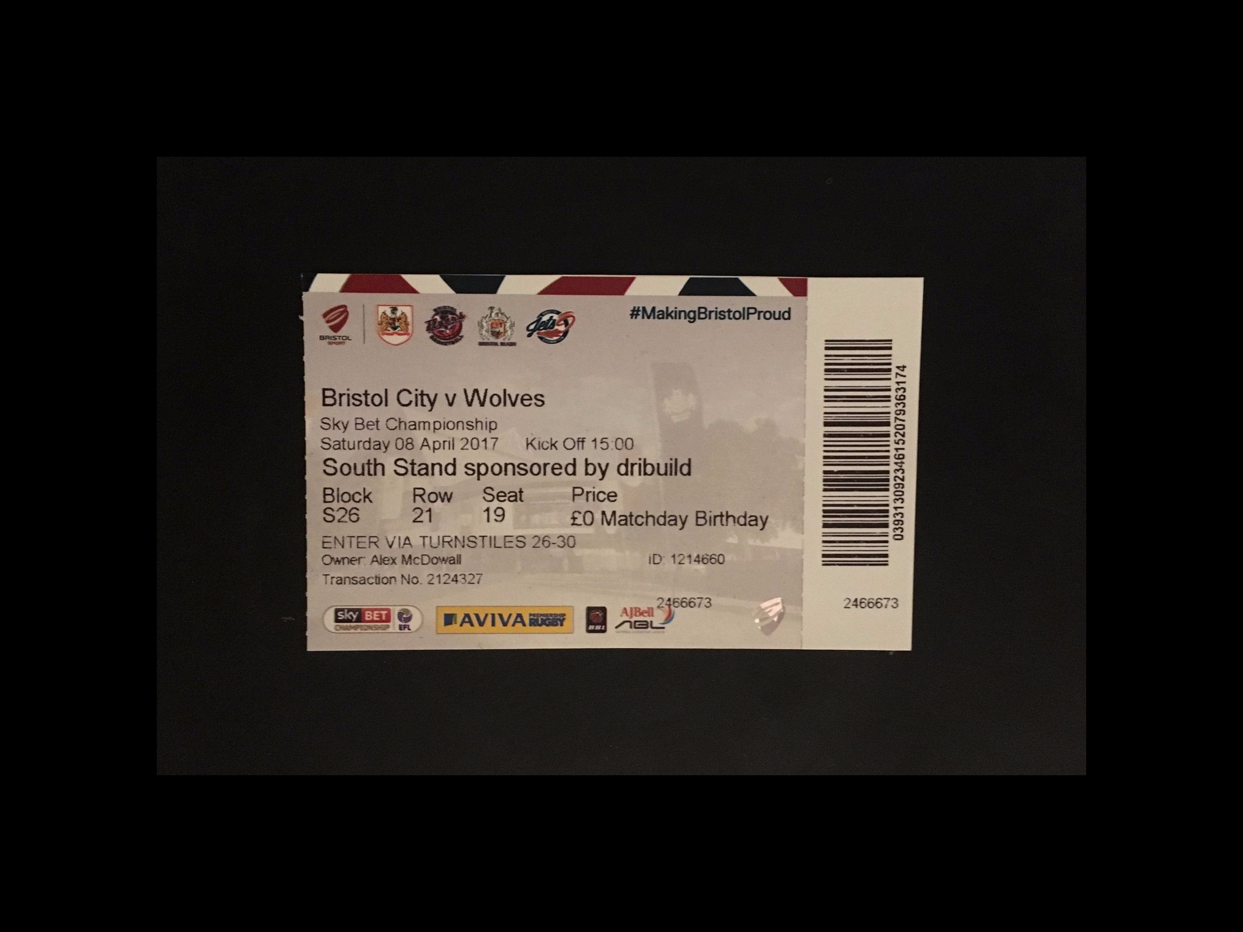 Bristol City v Wolves 08-04-2017 Ticket