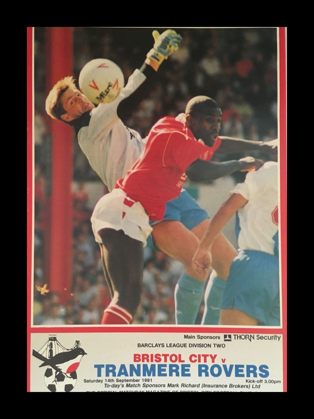 Bristol City v Tranmere Rovers 14-09-1991 Programme